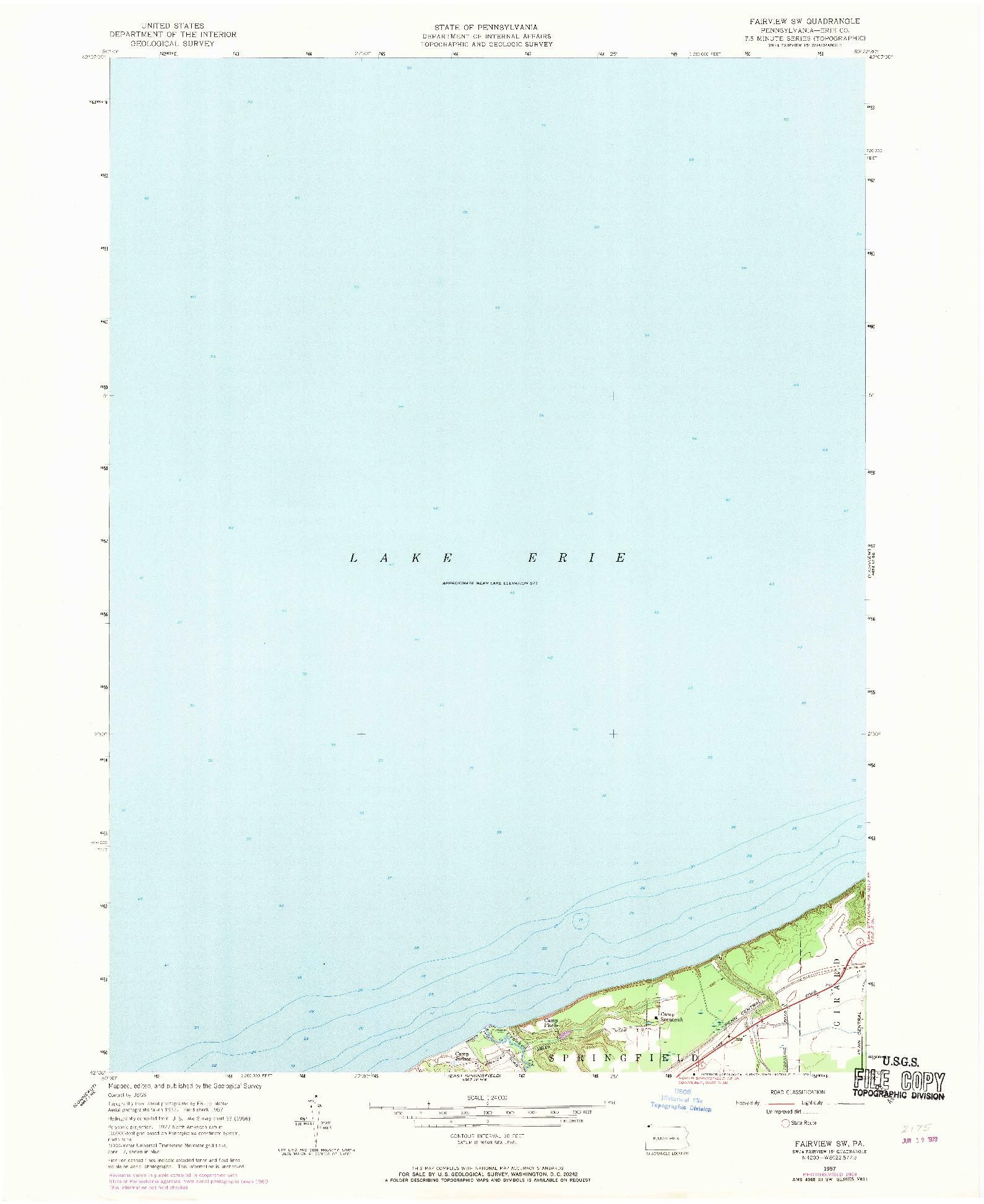 USGS 1:24000-SCALE QUADRANGLE FOR FAIRVIEW SW, PA 1957