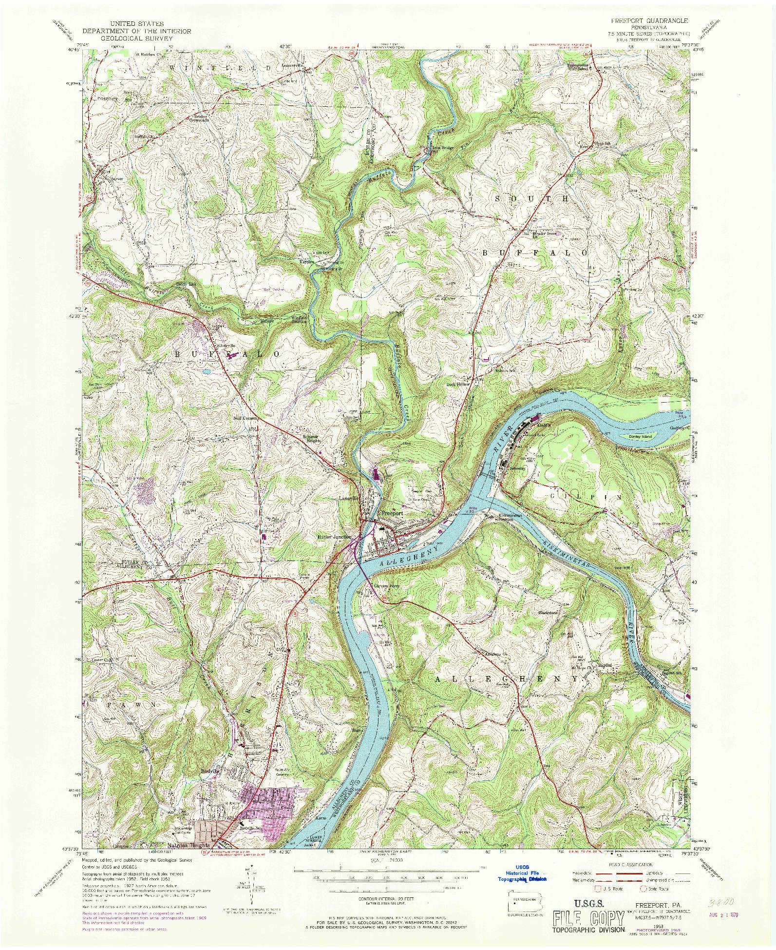 USGS 1:24000-SCALE QUADRANGLE FOR FREEPORT, PA 1953
