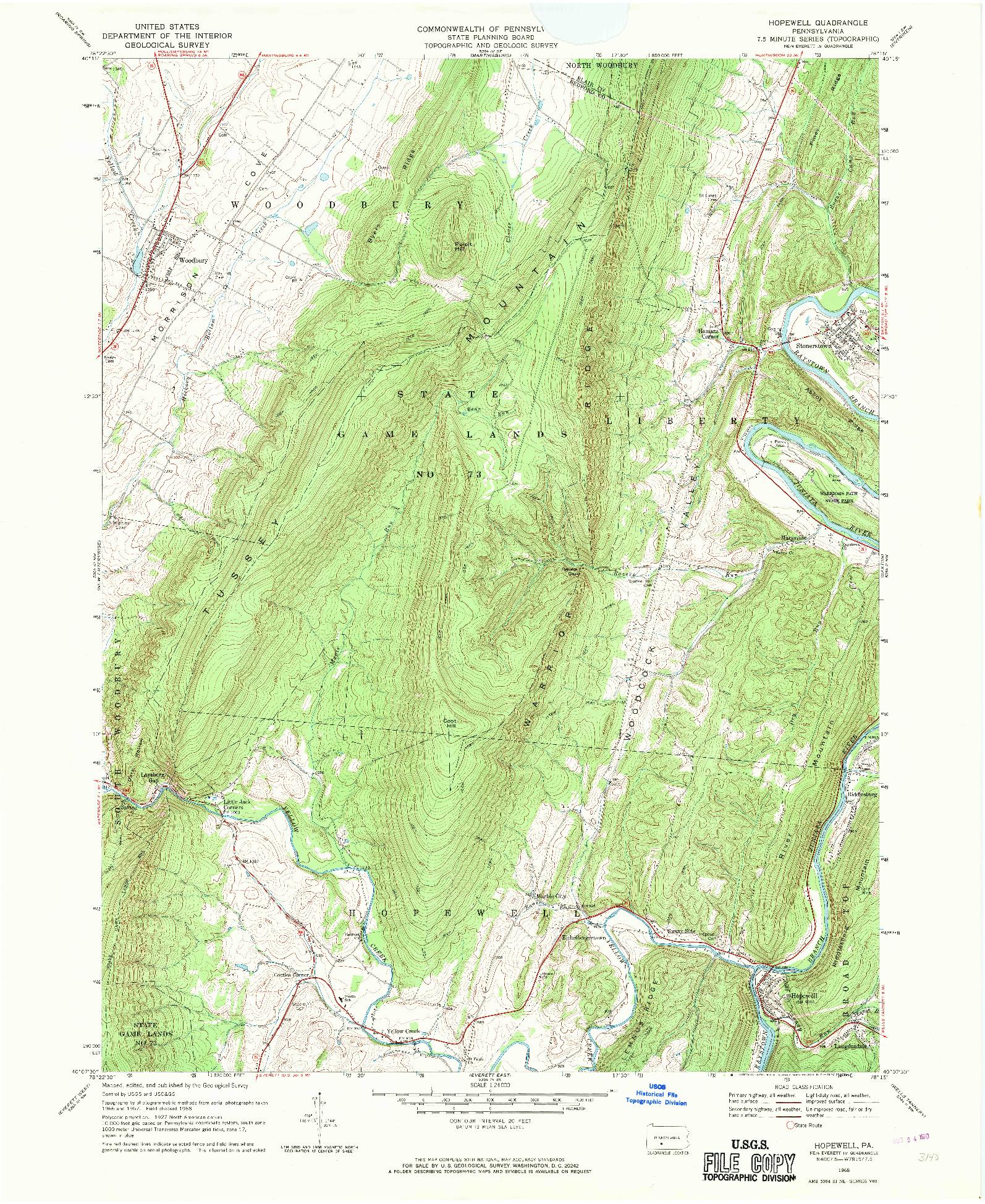 USGS 1:24000-SCALE QUADRANGLE FOR HOPEWELL, PA 1968