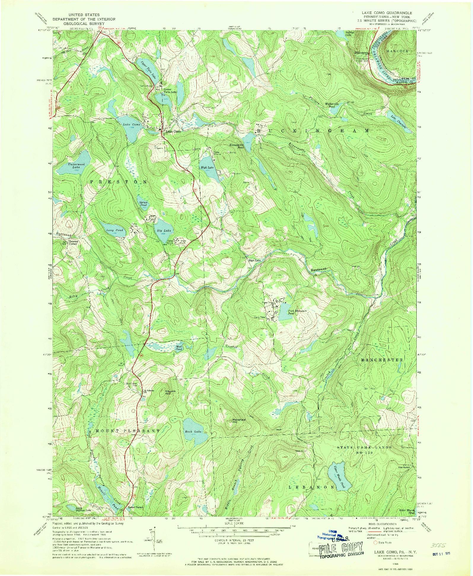 USGS 1:24000-SCALE QUADRANGLE FOR LAKE COMO, PA 1968