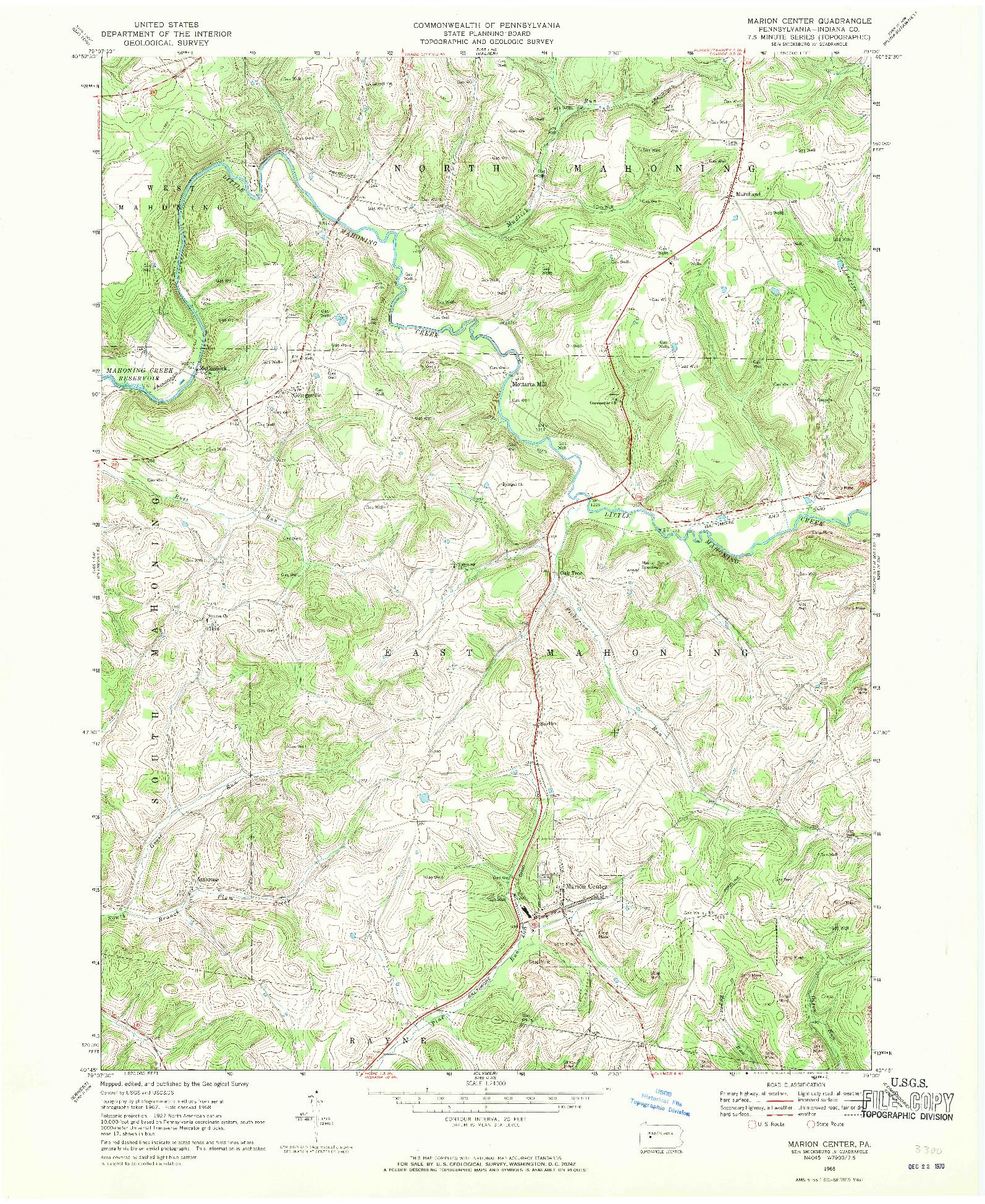 USGS 1:24000-SCALE QUADRANGLE FOR MARION CENTER, PA 1968