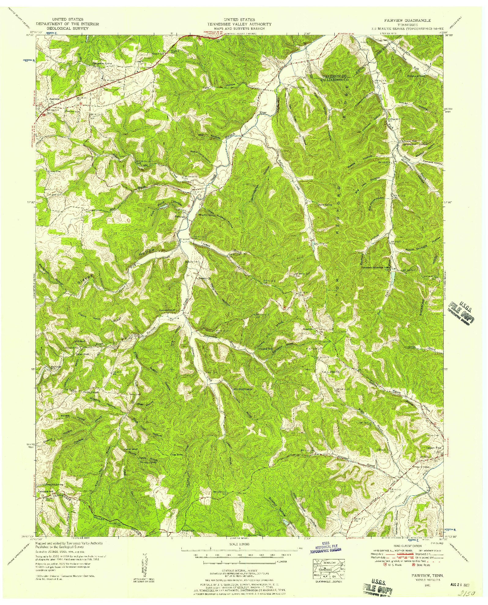 USGS 1:24000-SCALE QUADRANGLE FOR FAIRVIEW, TN 1951