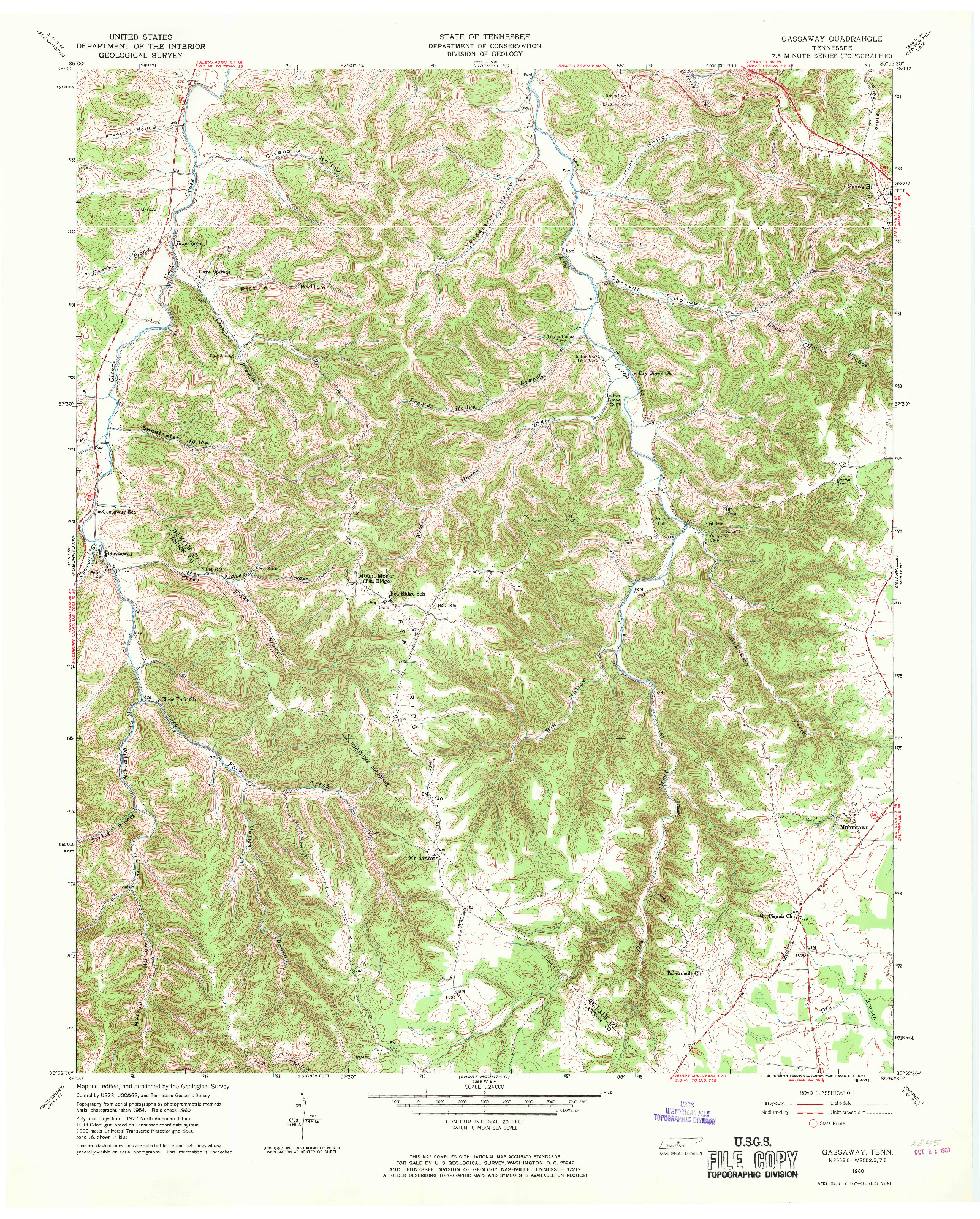 USGS 1:24000-SCALE QUADRANGLE FOR GASSAWAY, TN 1960