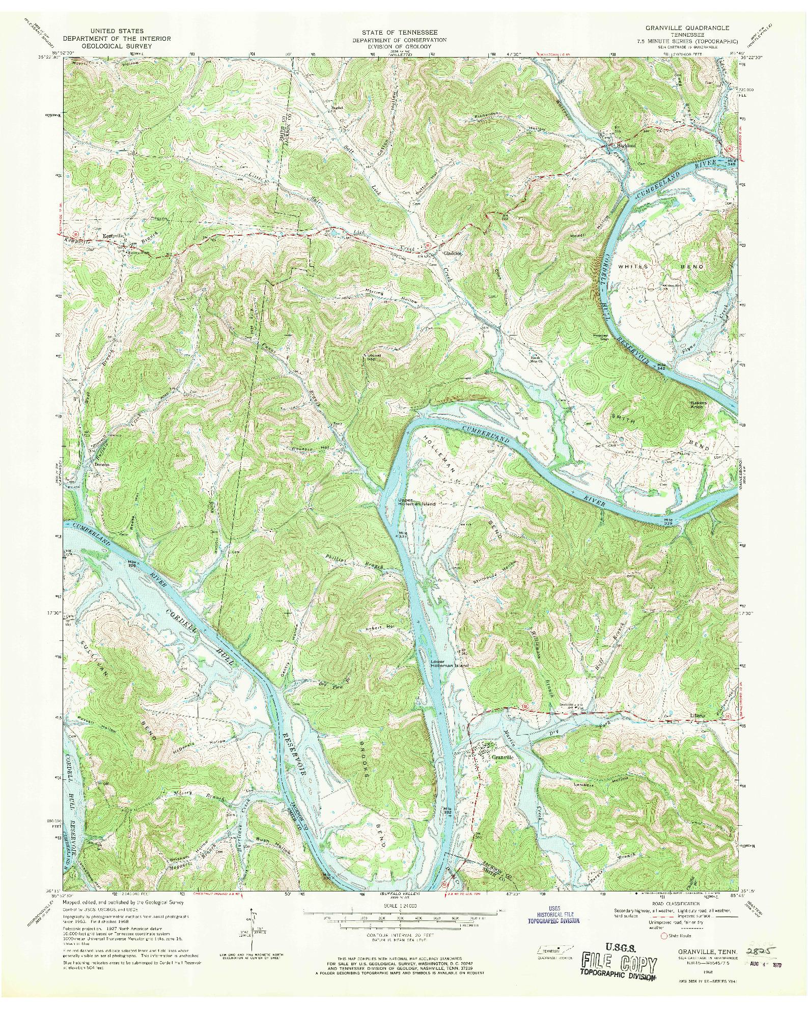 USGS 1:24000-SCALE QUADRANGLE FOR GRANVILLE, TN 1968