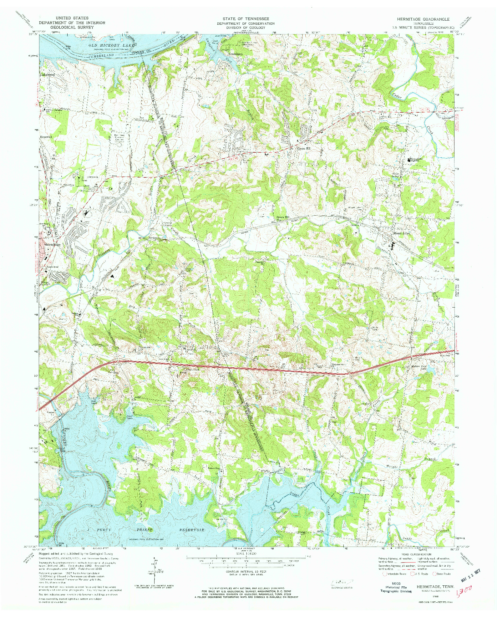 USGS 1:24000-SCALE QUADRANGLE FOR HERMITAGE, TN 1968