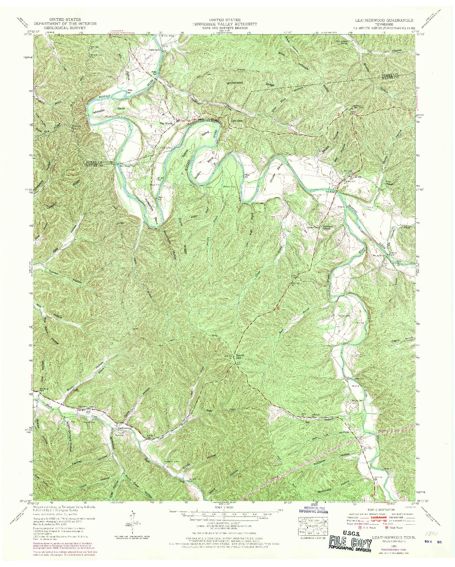 USGS 1:24000-SCALE QUADRANGLE FOR LEATHERWOOD, TN 1951