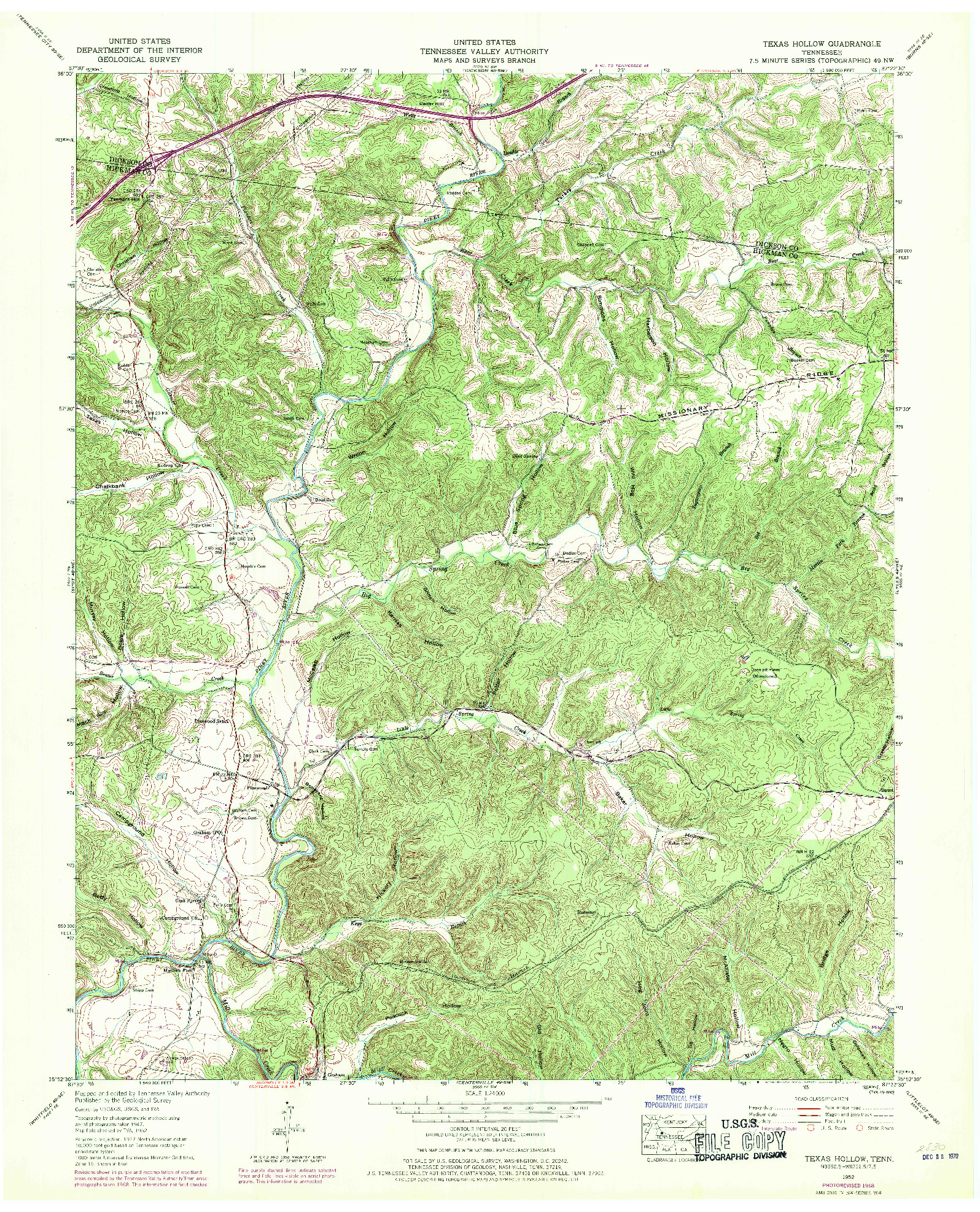 USGS 1:24000-SCALE QUADRANGLE FOR TEXAS HOLLOW, TN 1952