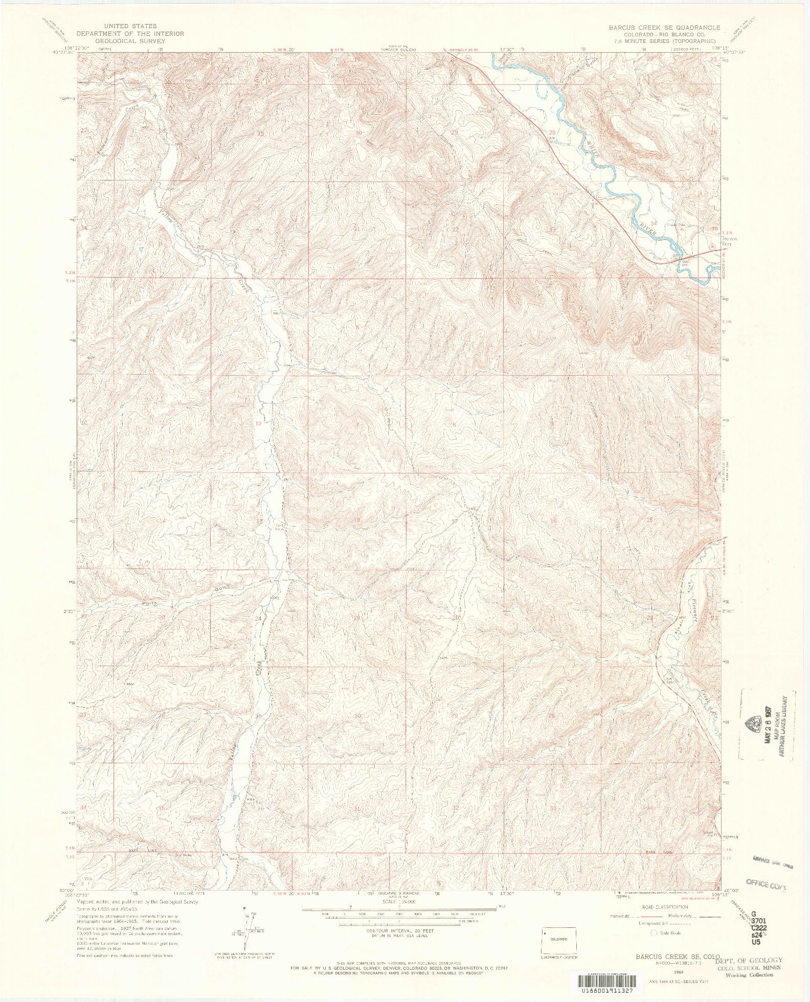 USGS 1:24000-SCALE QUADRANGLE FOR BARCUS CREEK SE, CO 1966