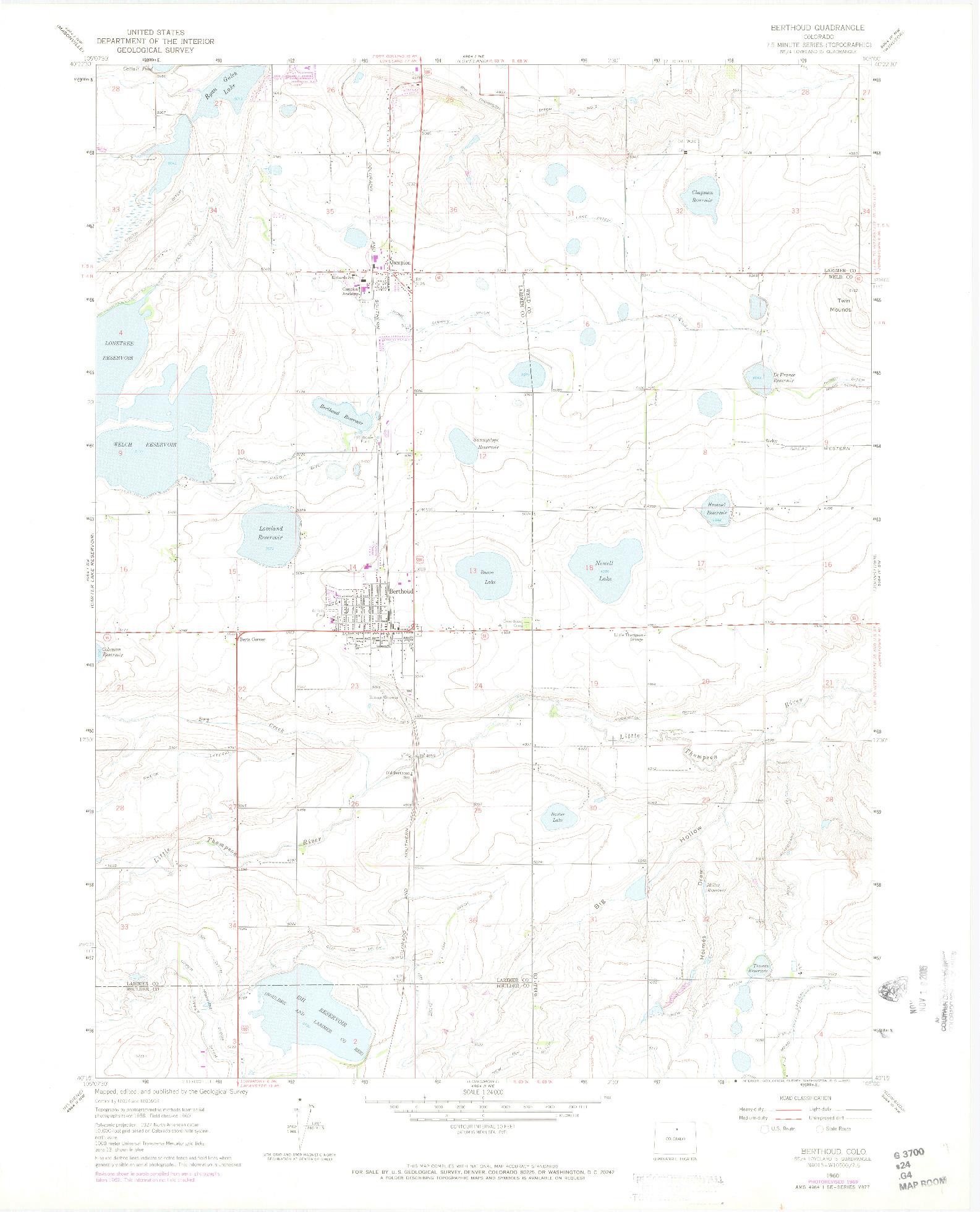 USGS 1:24000-SCALE QUADRANGLE FOR BERTHOUD, CO 1960