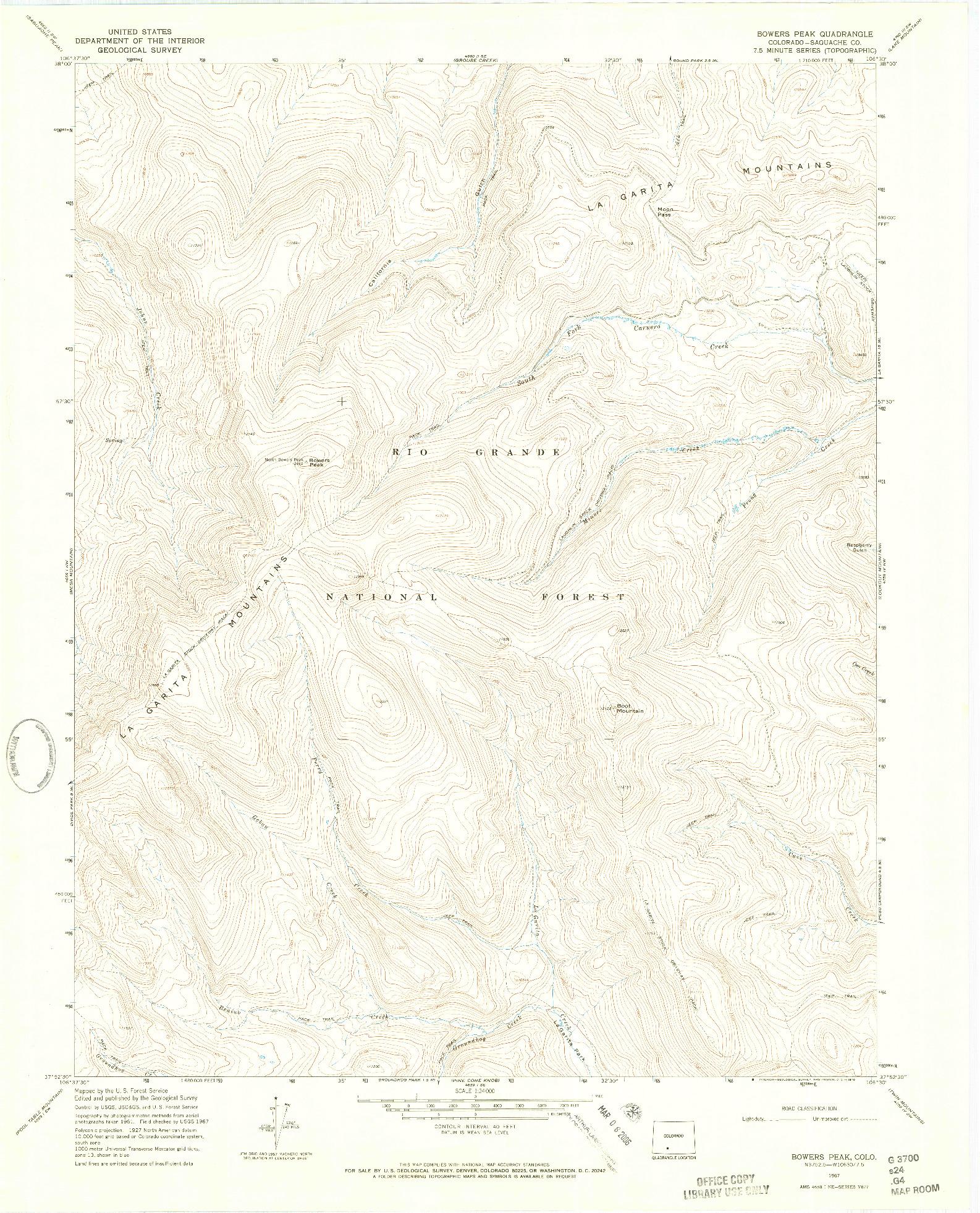 USGS 1:24000-SCALE QUADRANGLE FOR BOWERS PEAK, CO 1967