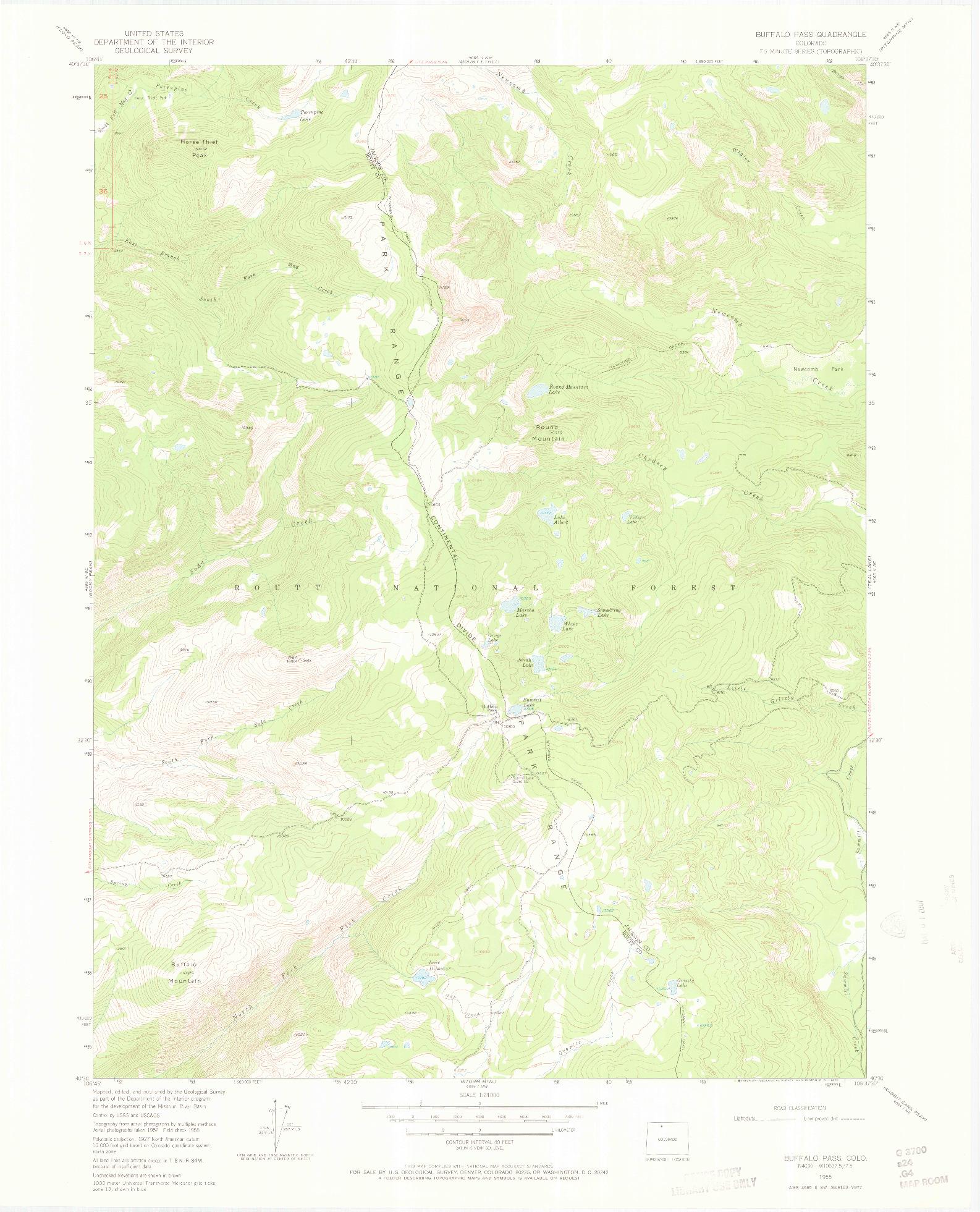 USGS 1:24000-SCALE QUADRANGLE FOR BUFFALO PASS, CO 1955