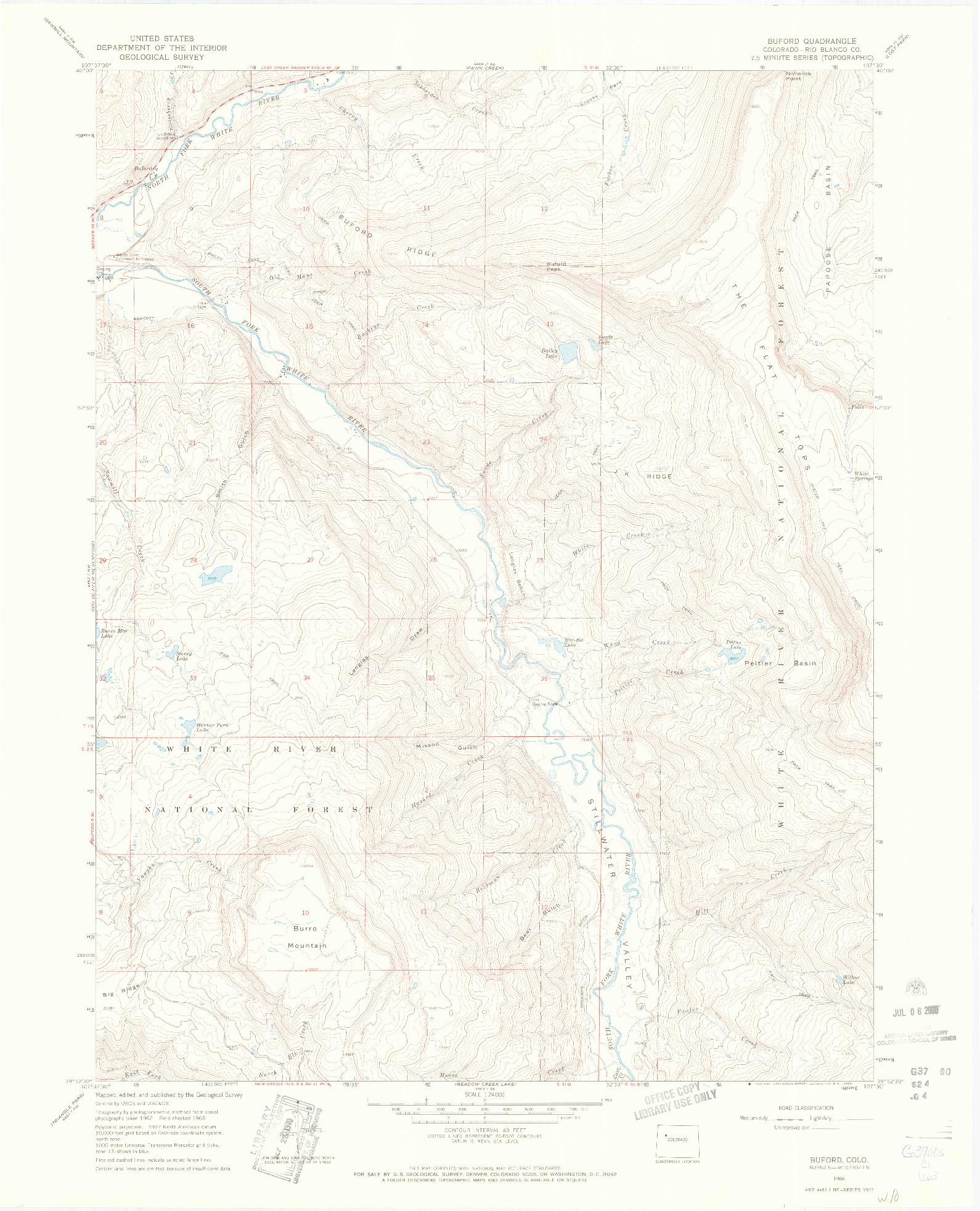 USGS 1:24000-SCALE QUADRANGLE FOR BUFORD, CO 1966
