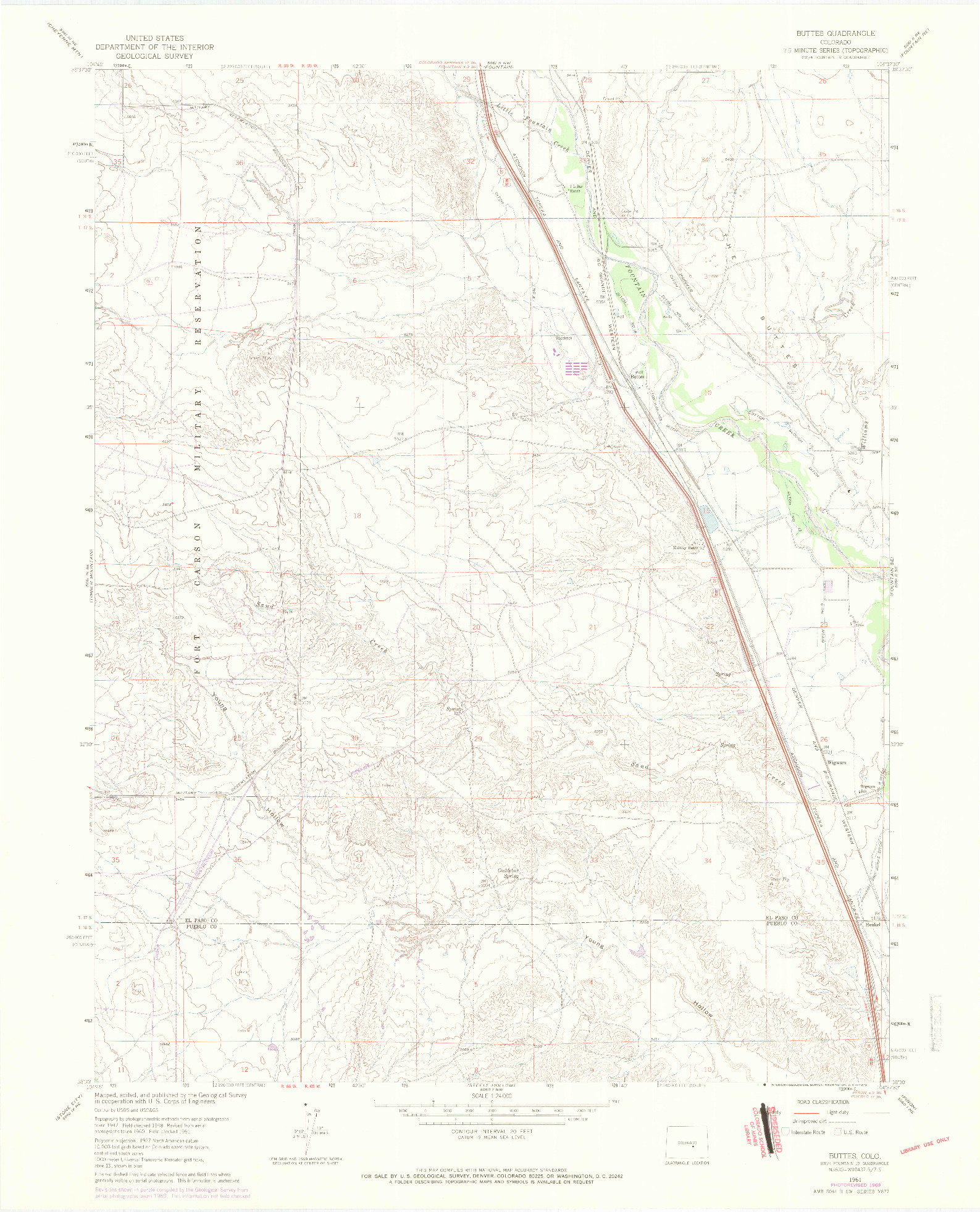 USGS 1:24000-SCALE QUADRANGLE FOR BUTTES, CO 1961