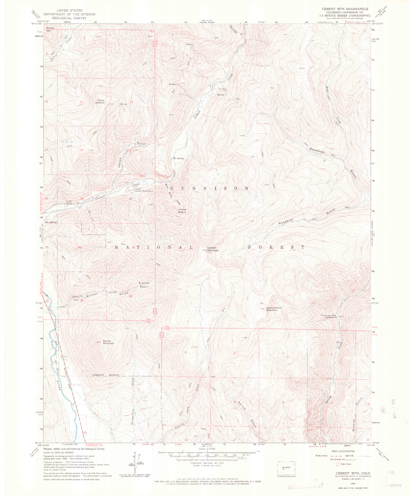 USGS 1:24000-SCALE QUADRANGLE FOR CEMENT MOUNTAIN, CO 1961