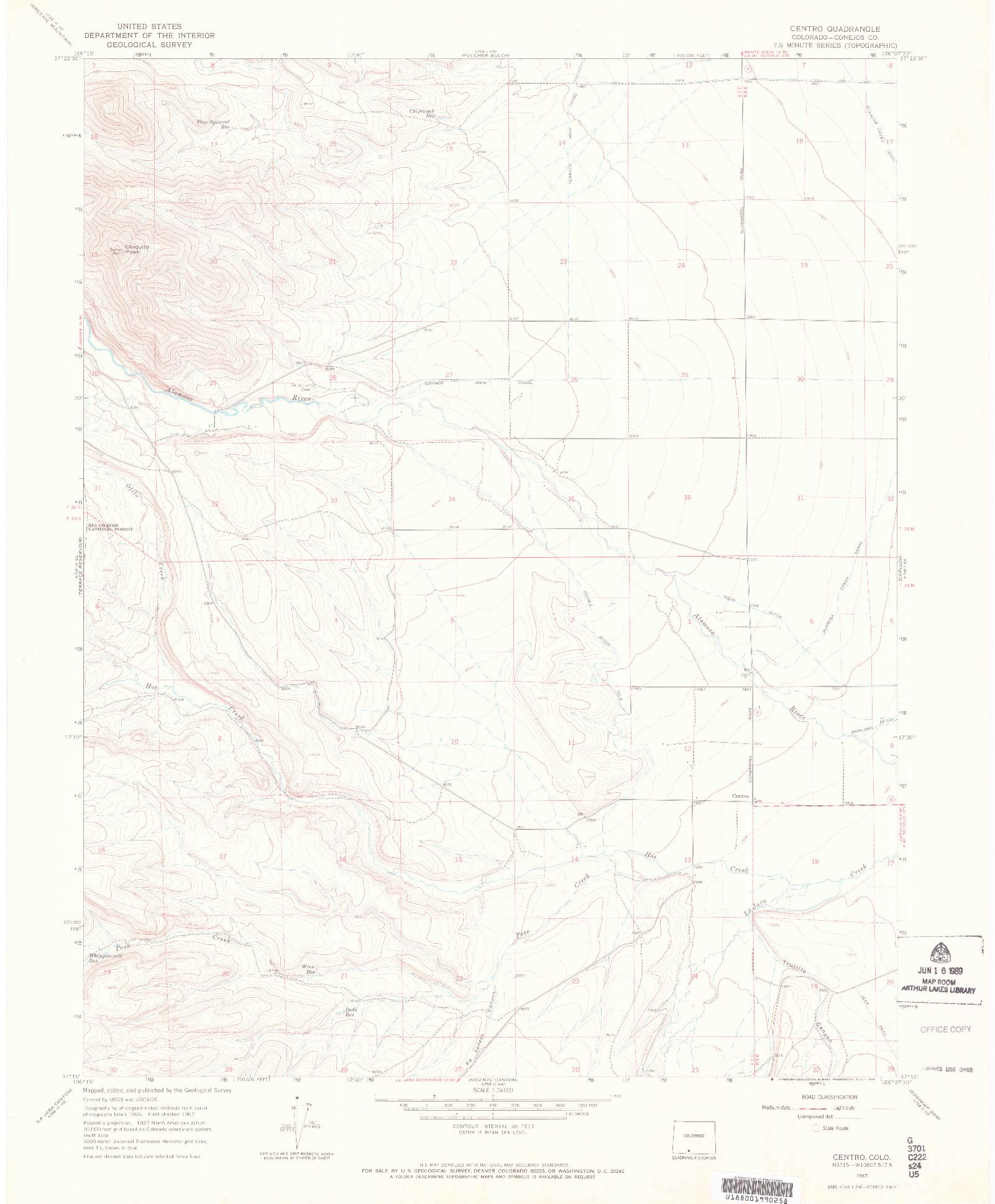 USGS 1:24000-SCALE QUADRANGLE FOR CENTRO, CO 1967