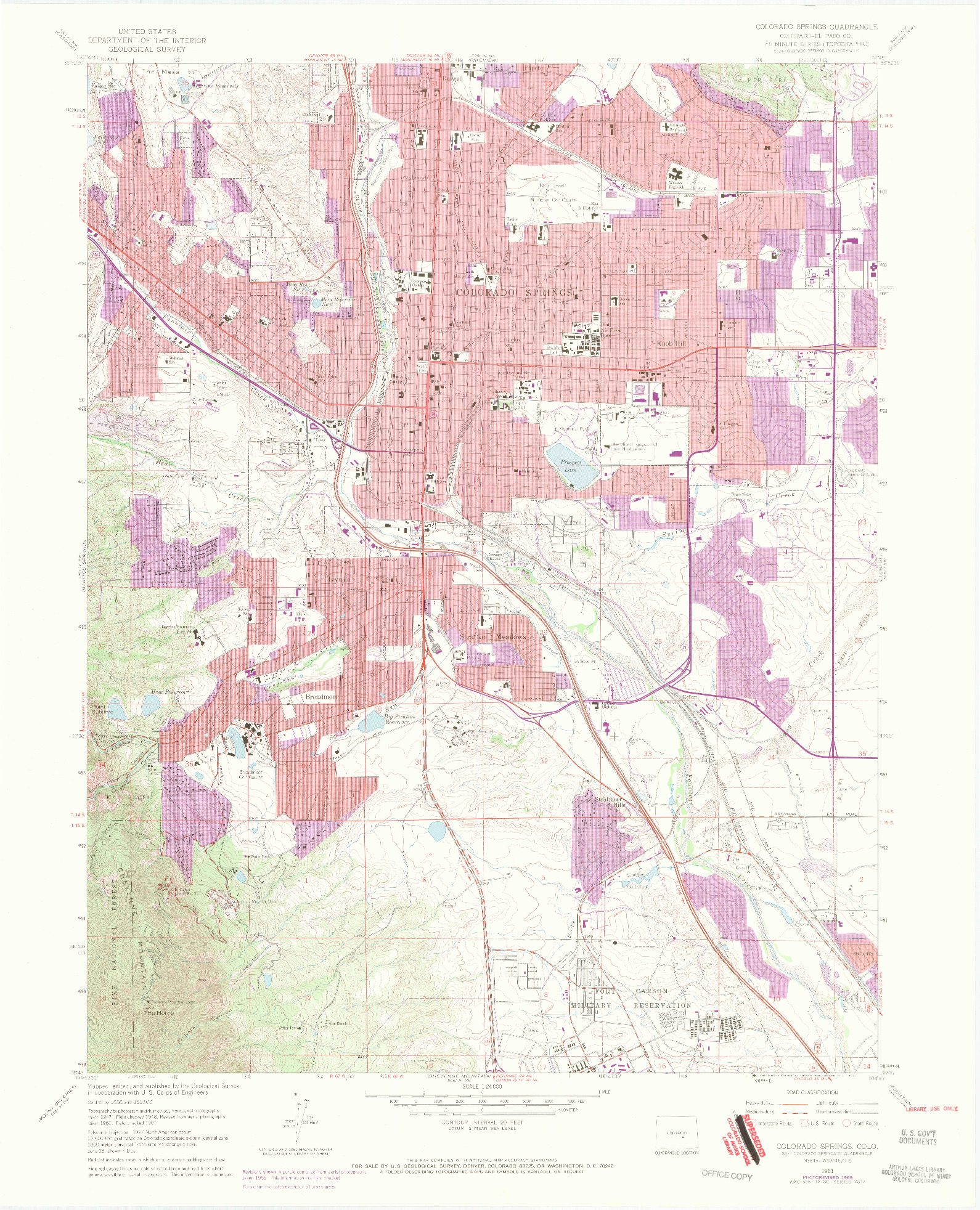 USGS 1:24000-SCALE QUADRANGLE FOR COLORADO SPRINGS, CO 1961