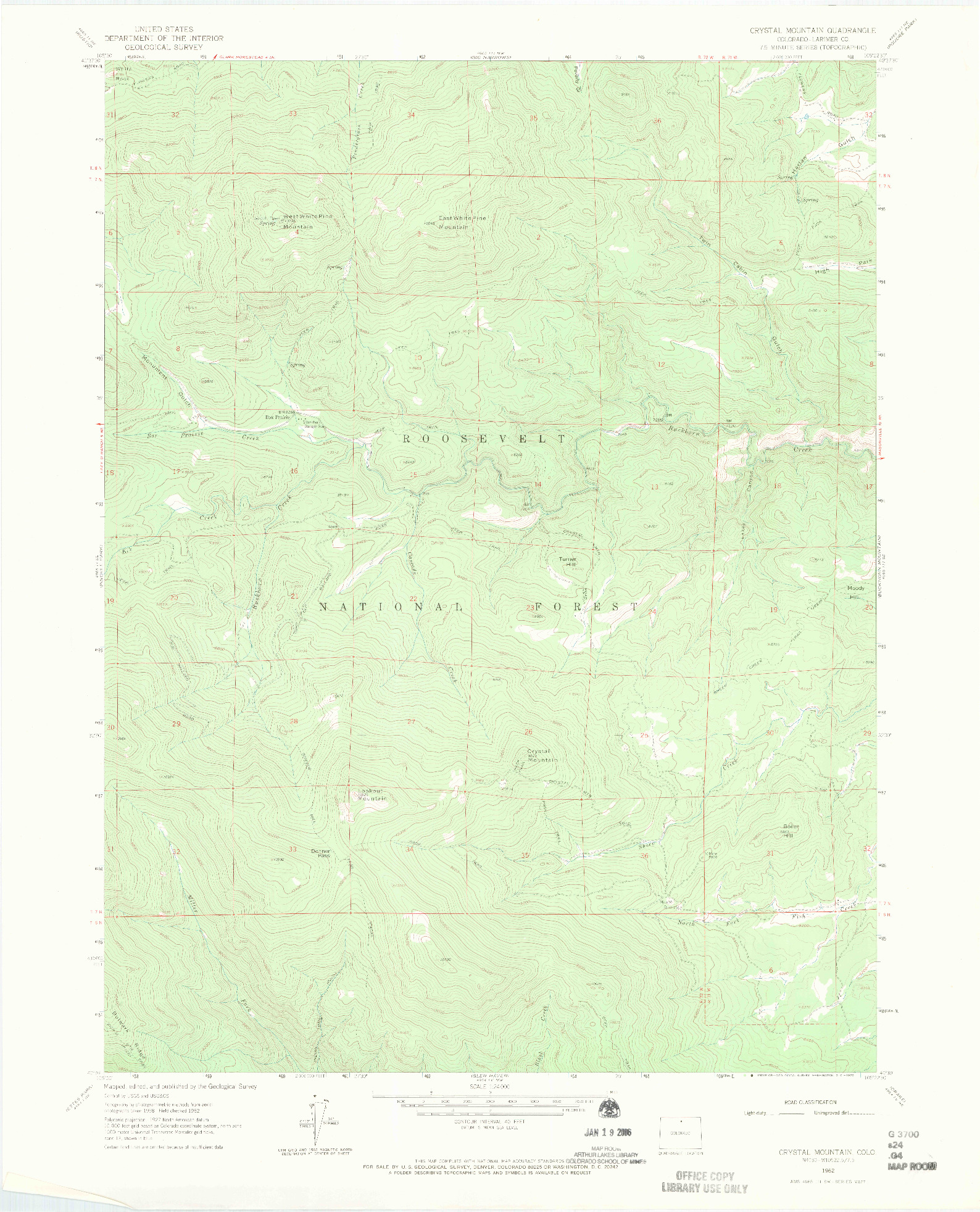 USGS 1:24000-SCALE QUADRANGLE FOR CRYSTAL MOUNTAIN, CO 1962