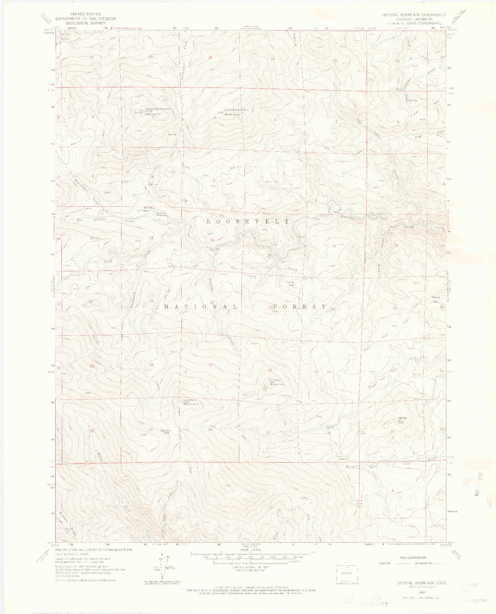 USGS 1:24000-SCALE QUADRANGLE FOR CRYSTAL MOUNTAIN, CO 1962