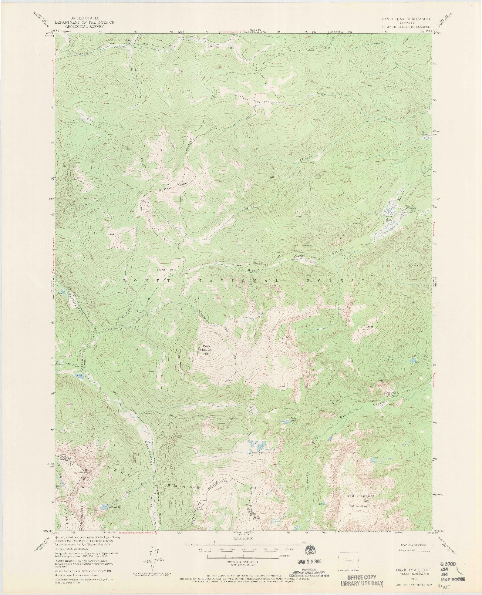 USGS 1:24000-SCALE QUADRANGLE FOR DAVIS PEAK, CO 1955