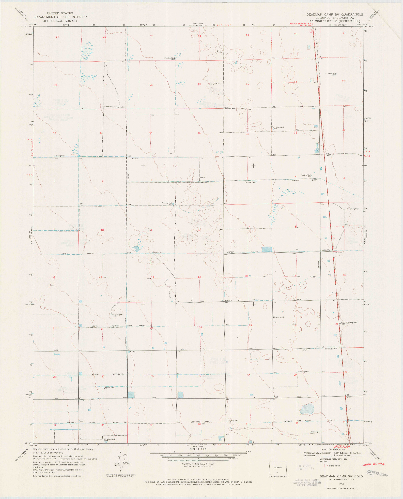 USGS 1:24000-SCALE QUADRANGLE FOR DEADMAN CAMP SW, CO 1968