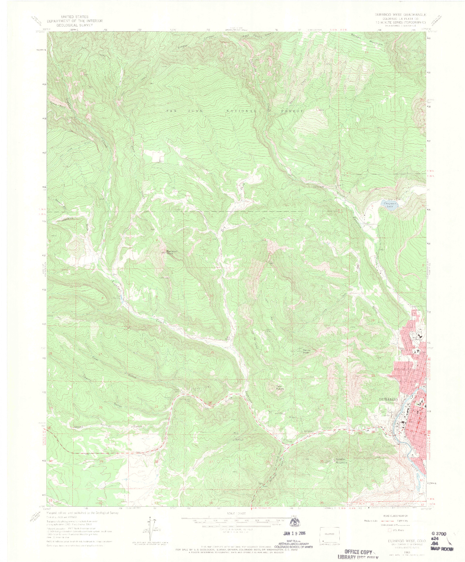 USGS 1:24000-SCALE QUADRANGLE FOR DURANGO WEST, CO 1963