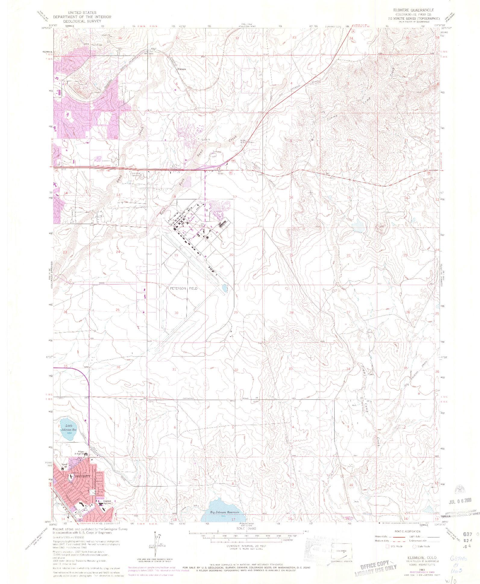 USGS 1:24000-SCALE QUADRANGLE FOR ELSMERE, CO 1961