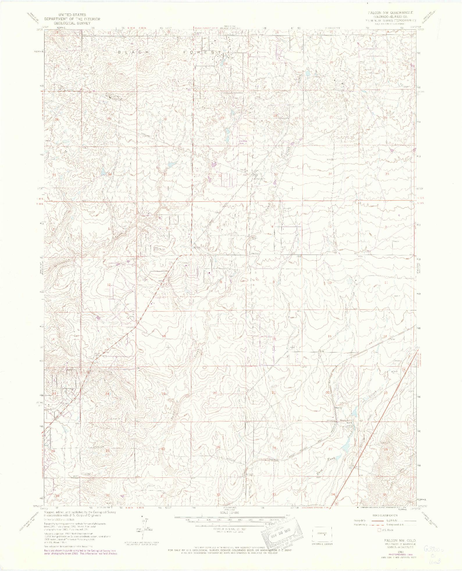 USGS 1:24000-SCALE QUADRANGLE FOR FALCON NW, CO 1961