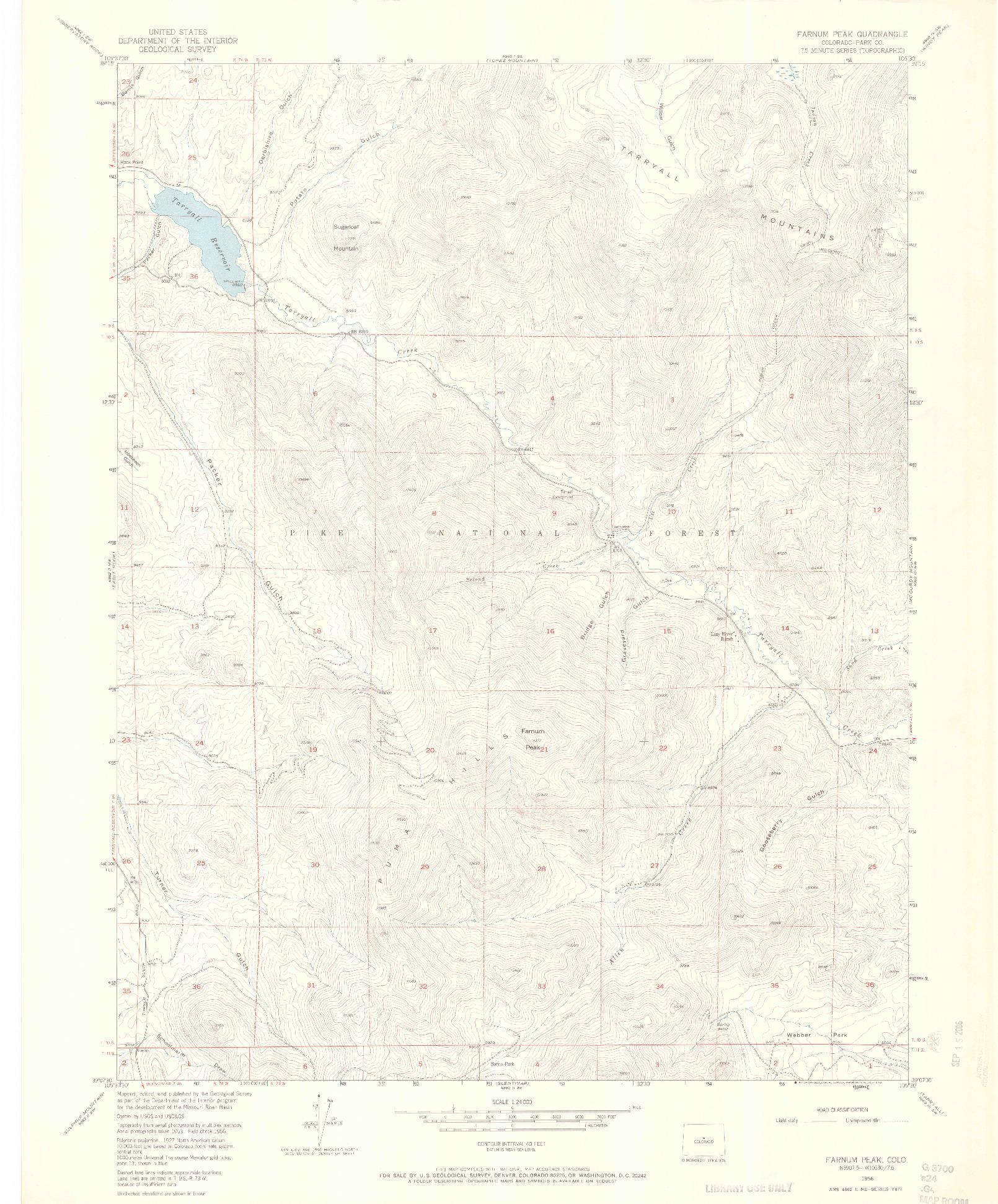 USGS 1:24000-SCALE QUADRANGLE FOR FARNUM PEAK, CO 1956