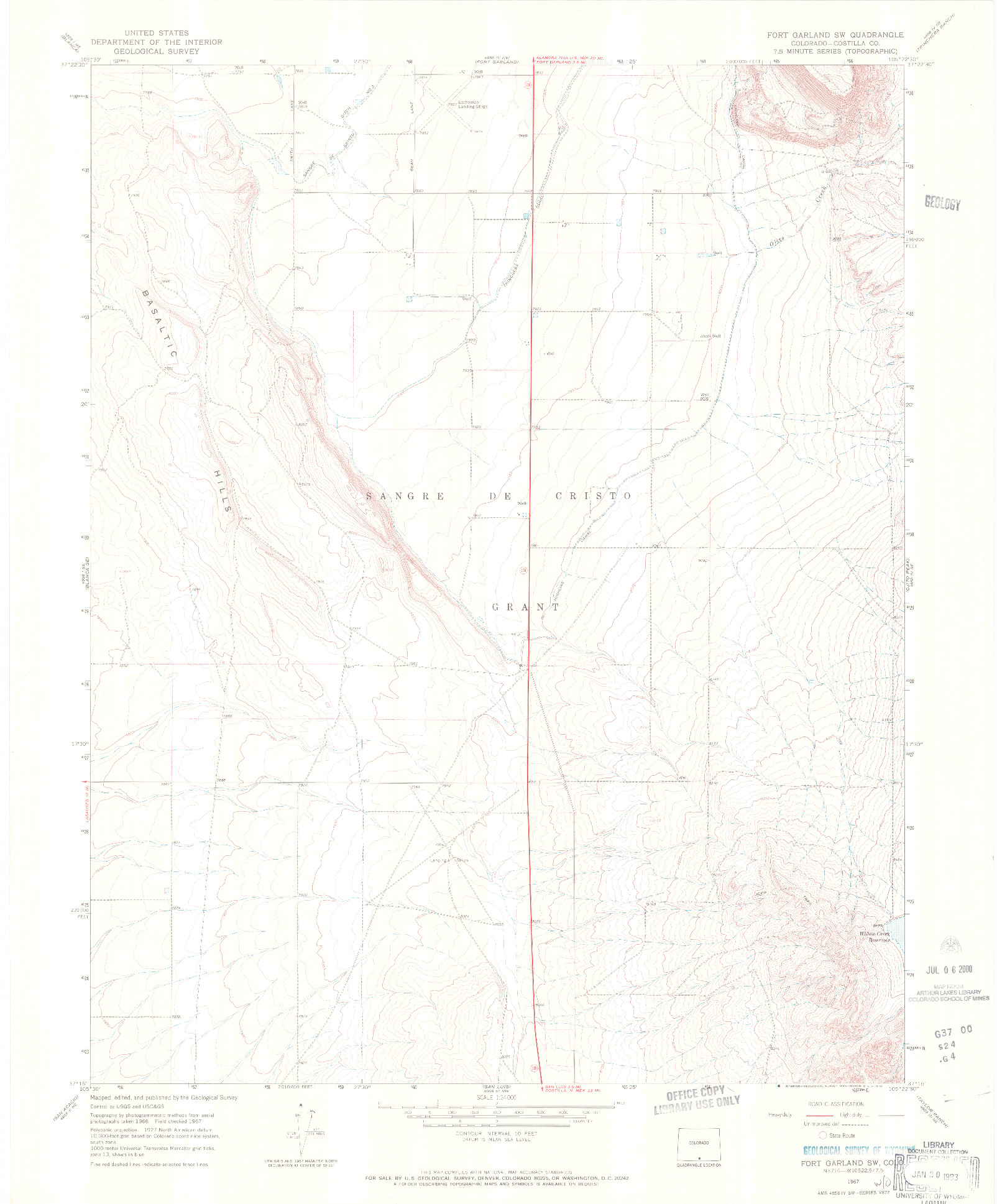 USGS 1:24000-SCALE QUADRANGLE FOR FORT GARLAND SW, CO 1967
