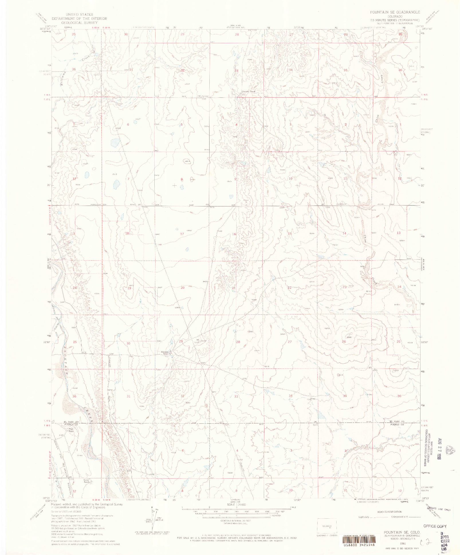 USGS 1:24000-SCALE QUADRANGLE FOR FOUNTAIN SE, CO 1961