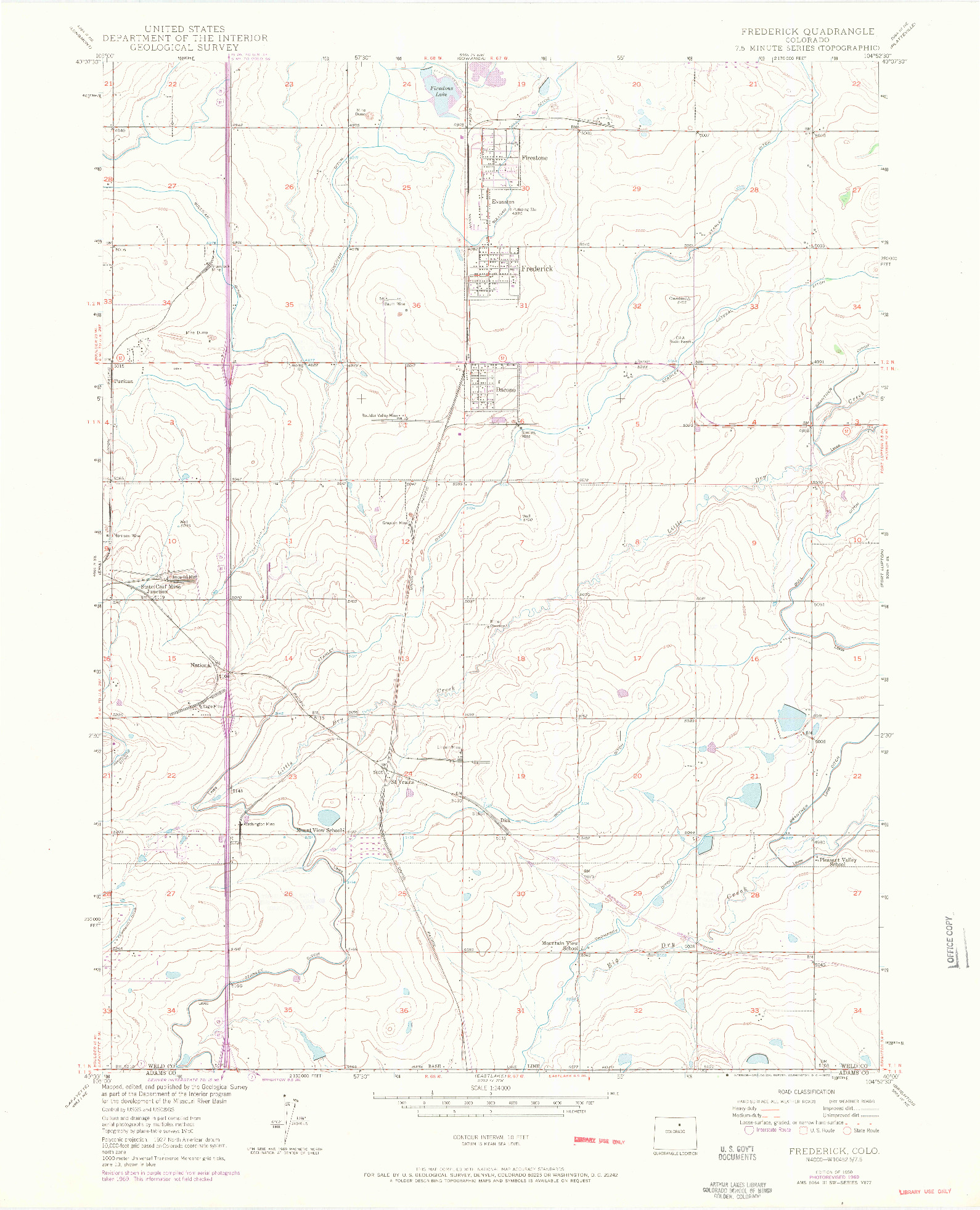USGS 1:24000-SCALE QUADRANGLE FOR FREDERICK, CO 1950