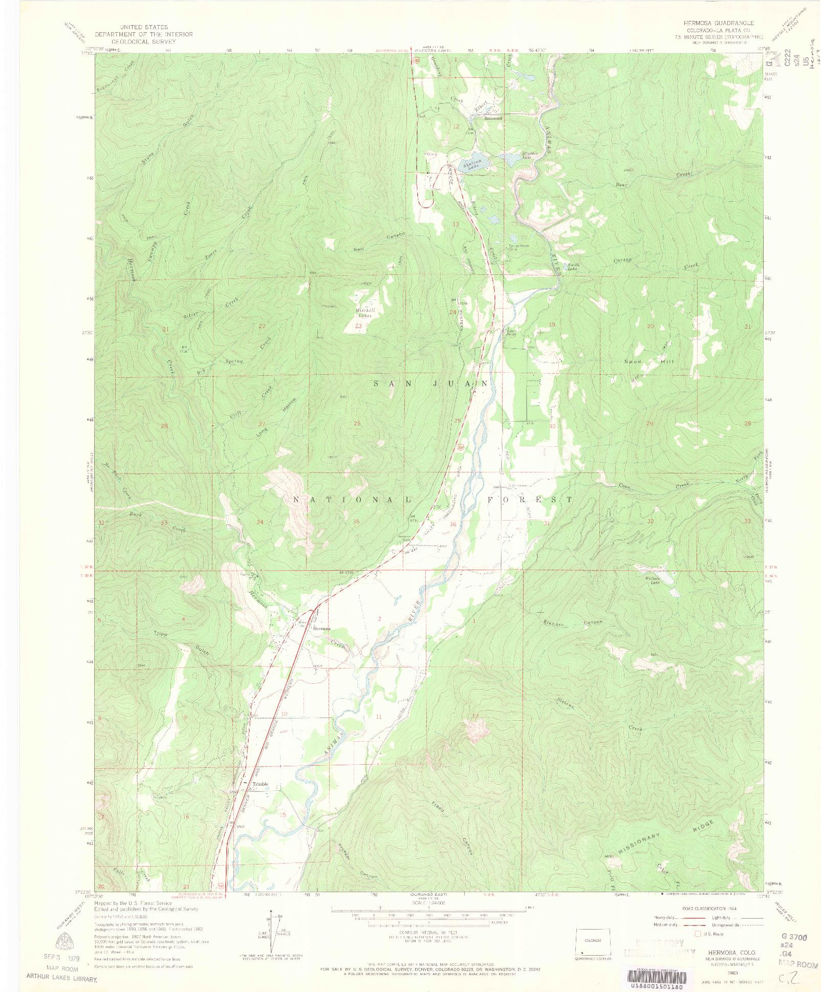 USGS 1:24000-SCALE QUADRANGLE FOR HERMOSA, CO 1963