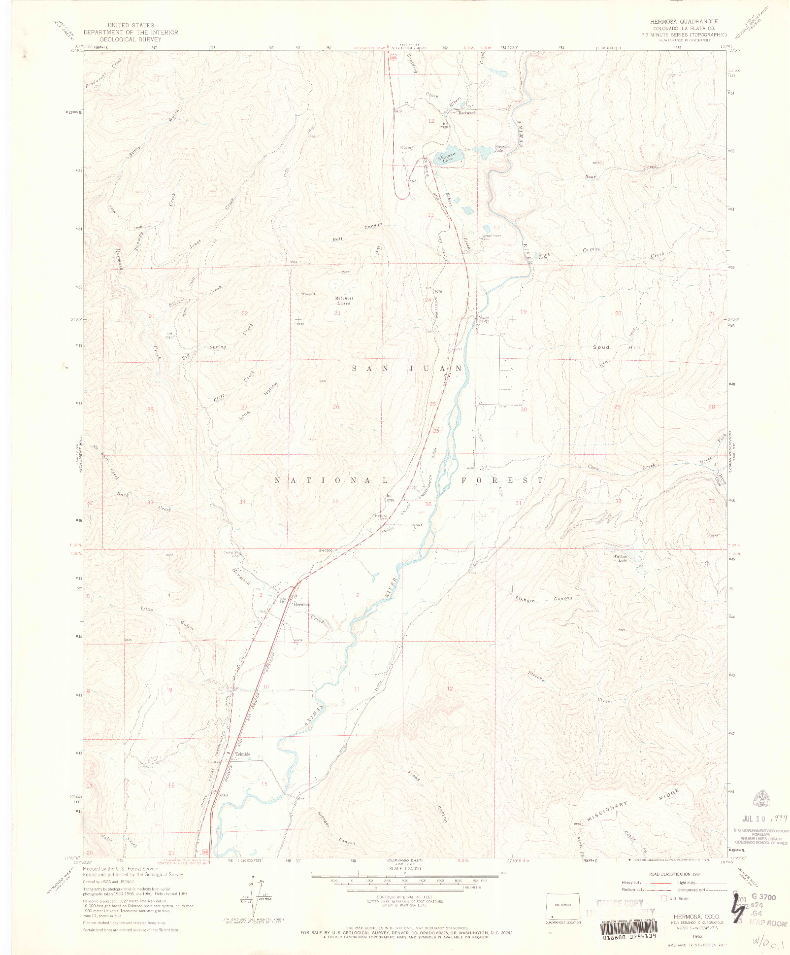 USGS 1:24000-SCALE QUADRANGLE FOR HERMOSA, CO 1963