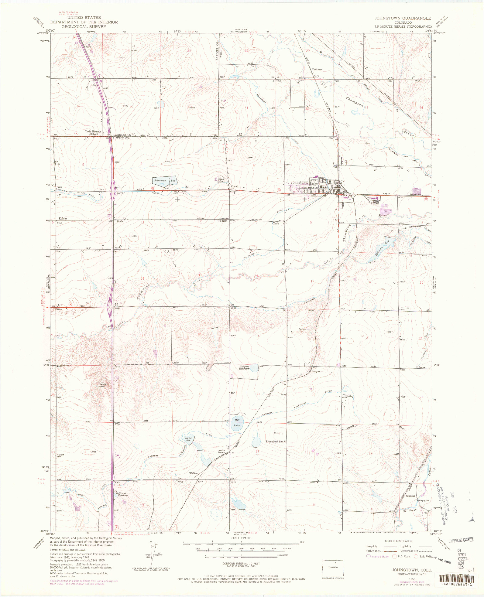 USGS 1:24000-SCALE QUADRANGLE FOR JOHNSTOWN, CO 1950