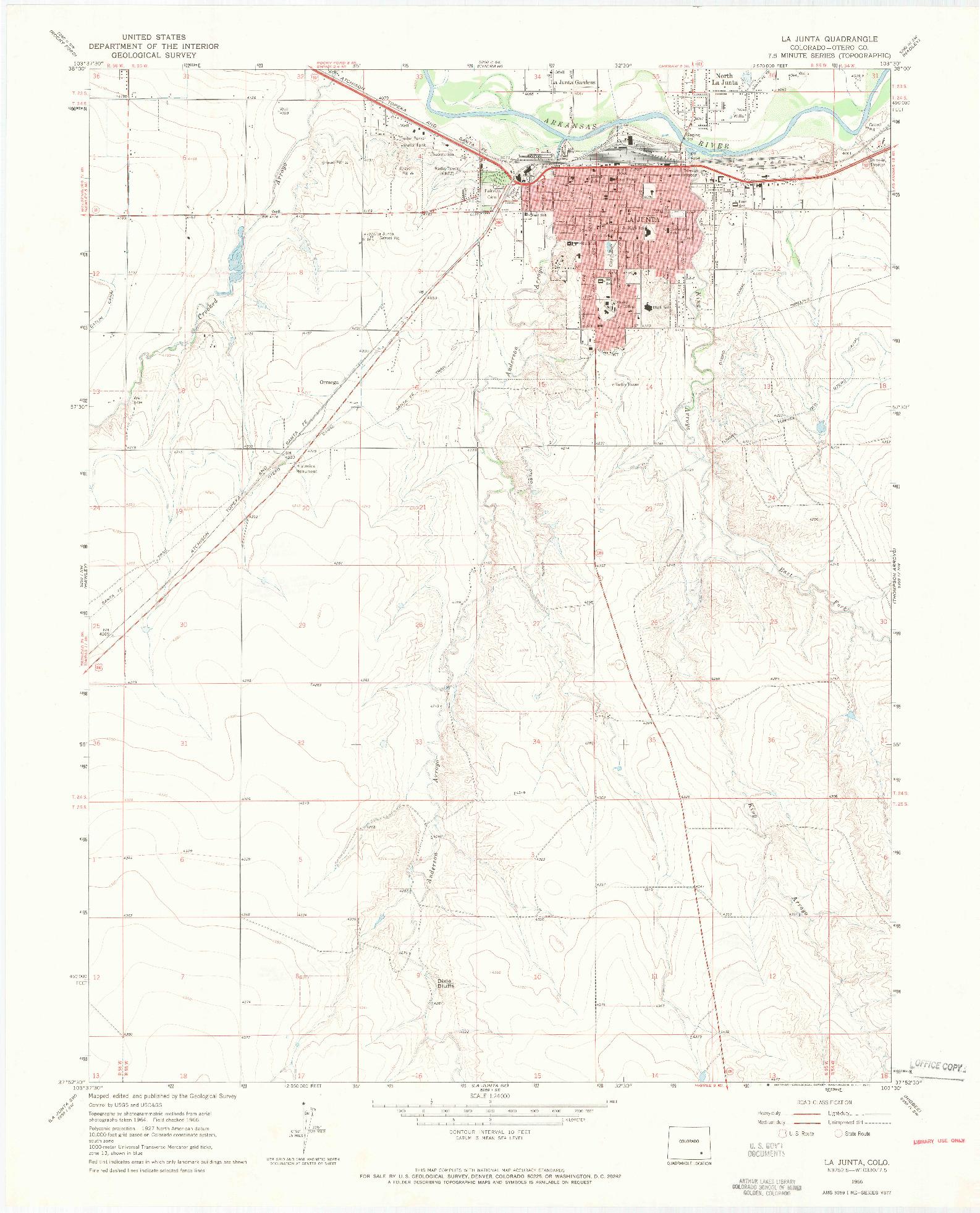 USGS 1:24000-SCALE QUADRANGLE FOR LA JUNTA, CO 1966