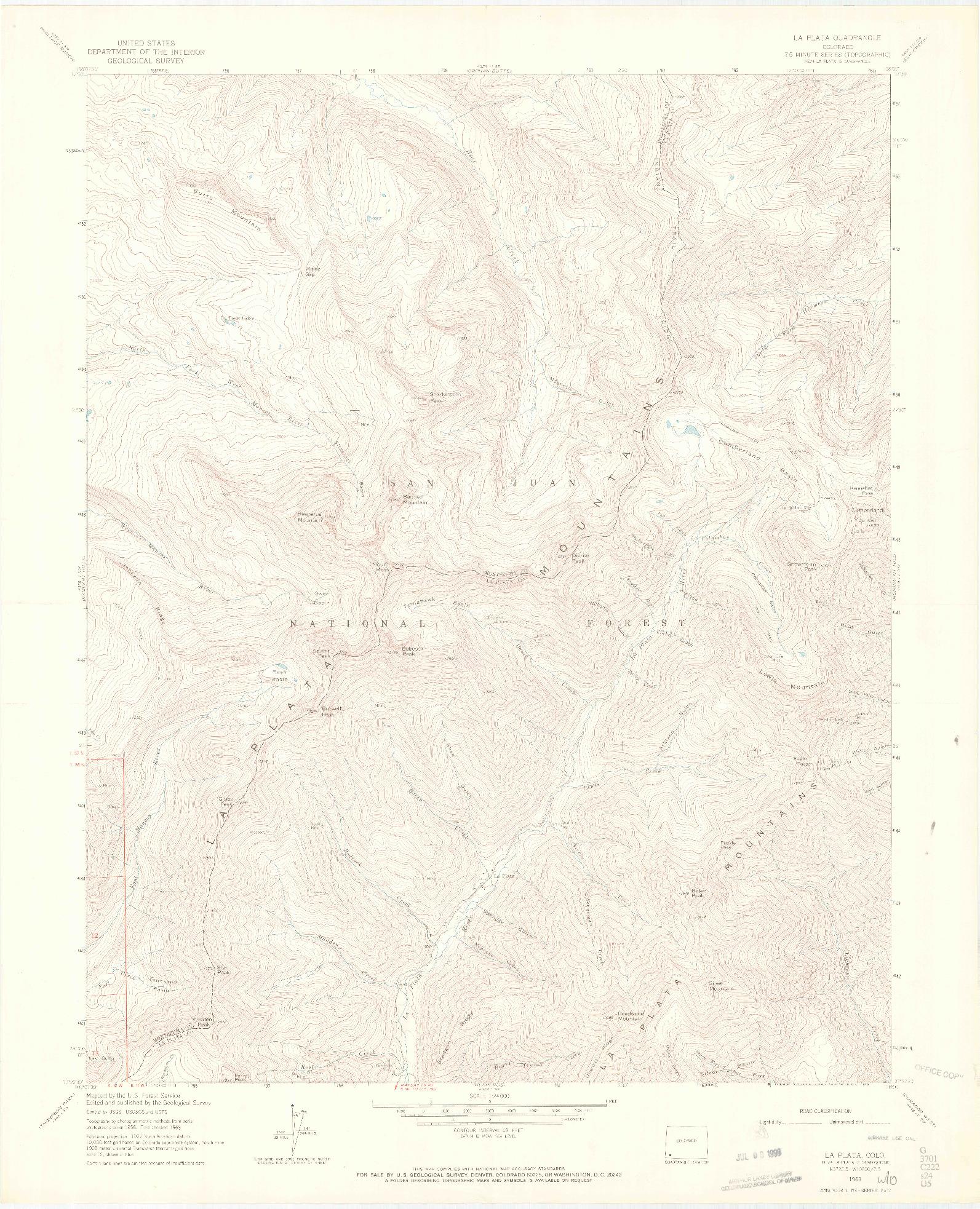 USGS 1:24000-SCALE QUADRANGLE FOR LA PLATA, CO 1963