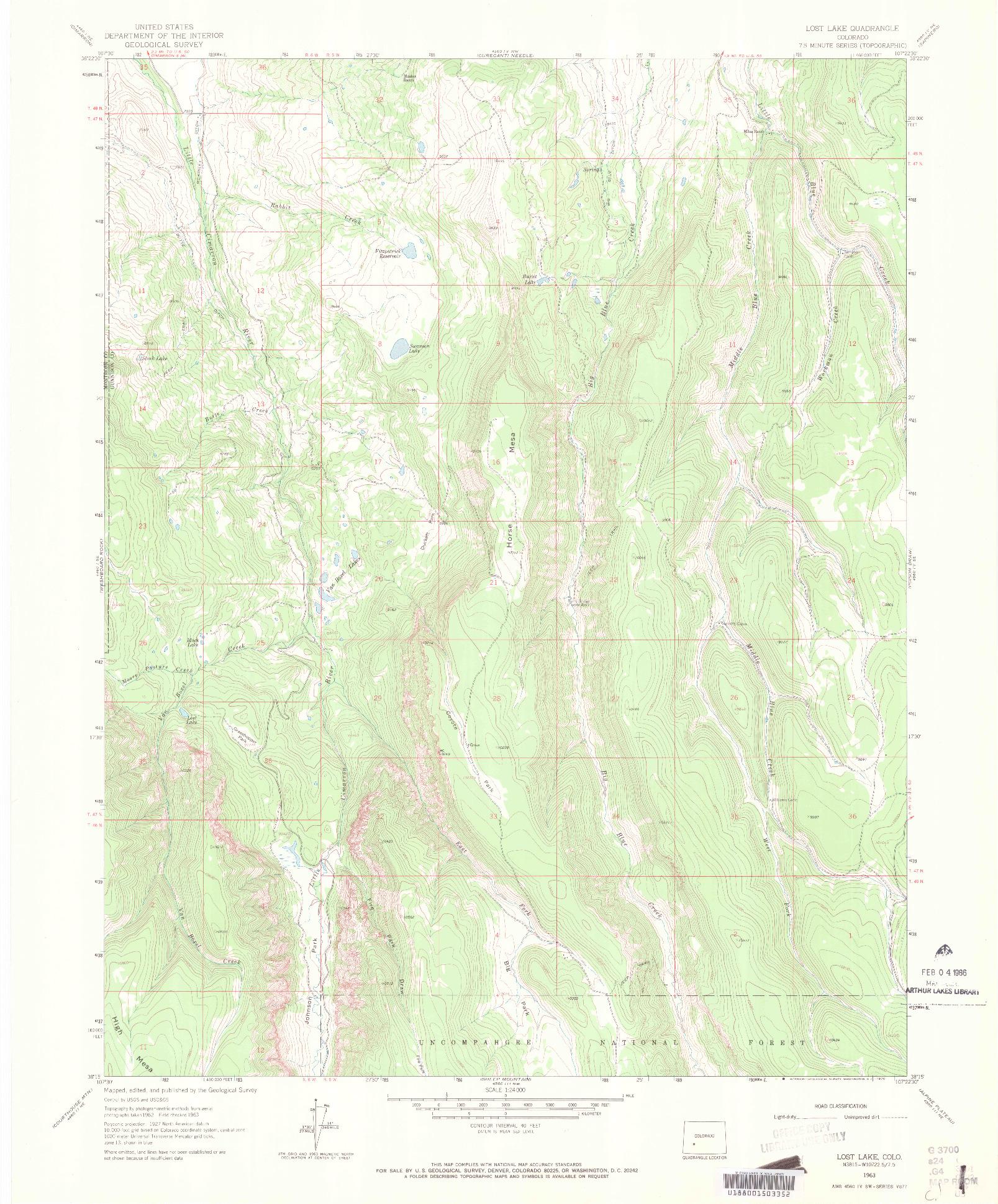 USGS 1:24000-SCALE QUADRANGLE FOR LOST LAKE, CO 1963