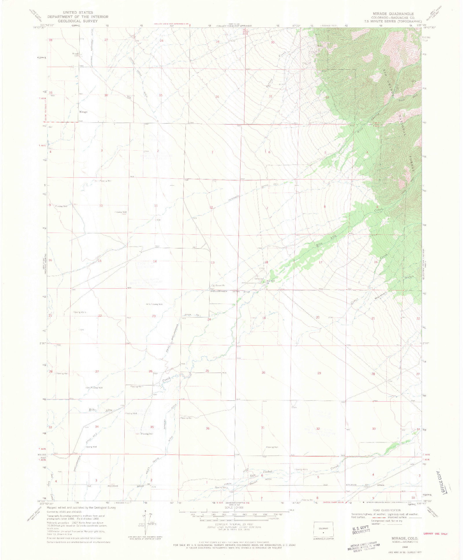 USGS 1:24000-SCALE QUADRANGLE FOR MIRAGE, CO 1968