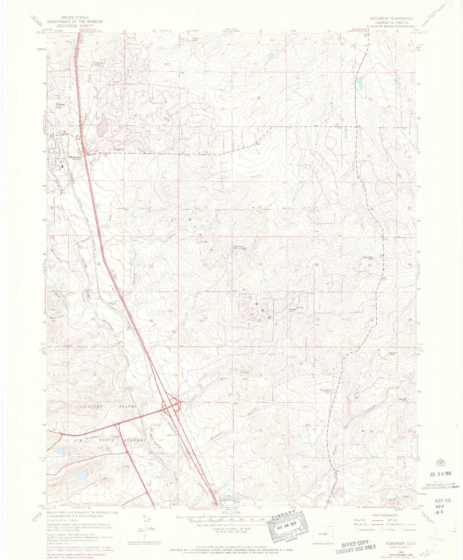 USGS 1:24000-SCALE QUADRANGLE FOR MONUMENT, CO 1961
