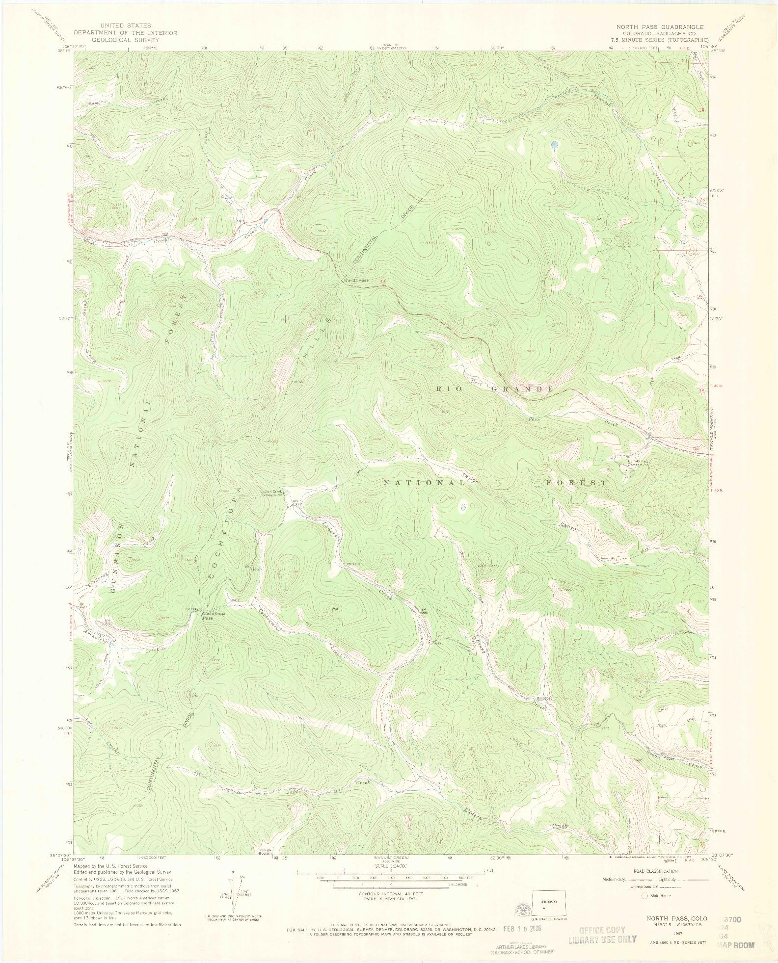 USGS 1:24000-SCALE QUADRANGLE FOR NORTH PASS, CO 1967