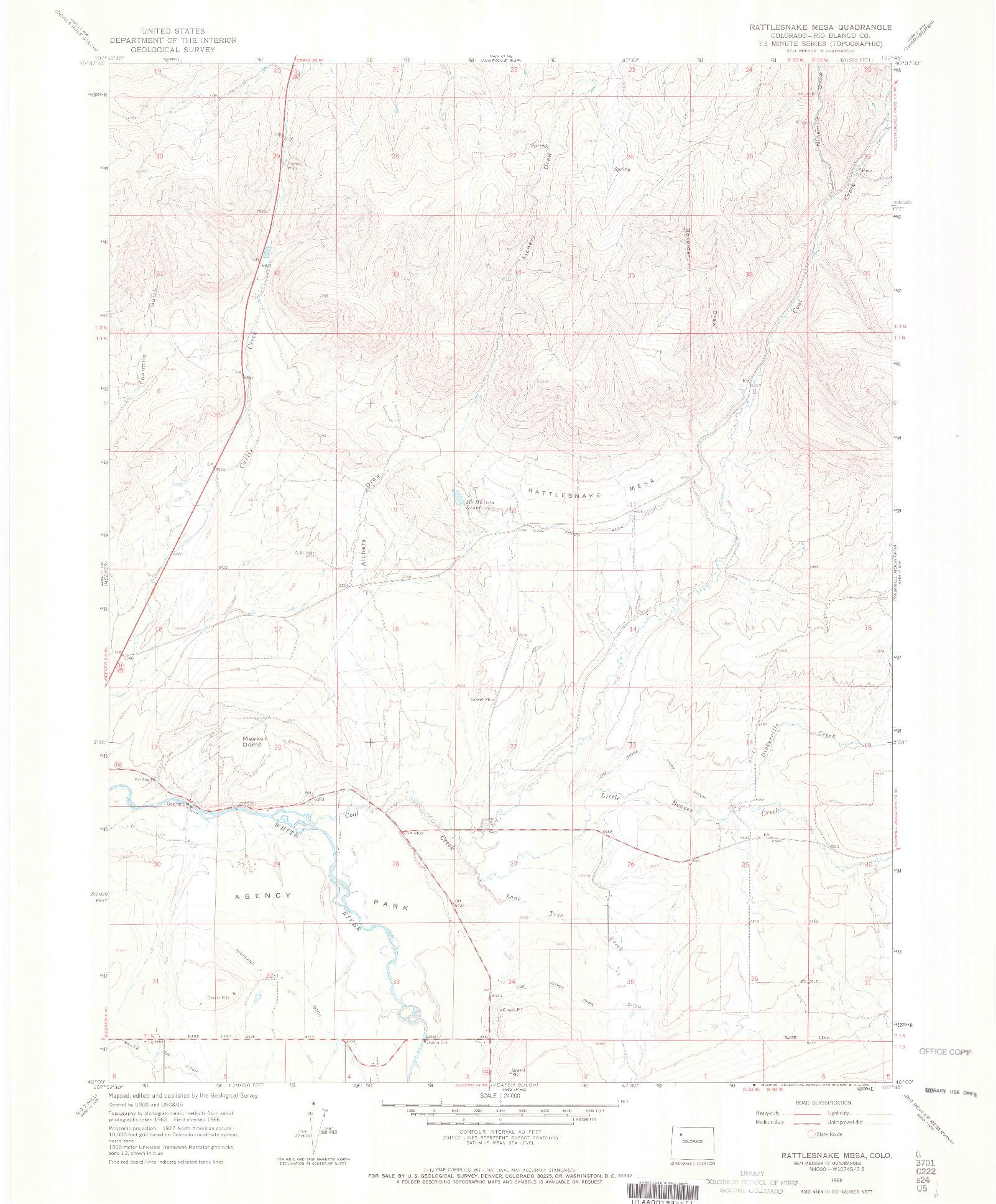 USGS 1:24000-SCALE QUADRANGLE FOR RATTLESNAKE MESA, CO 1966