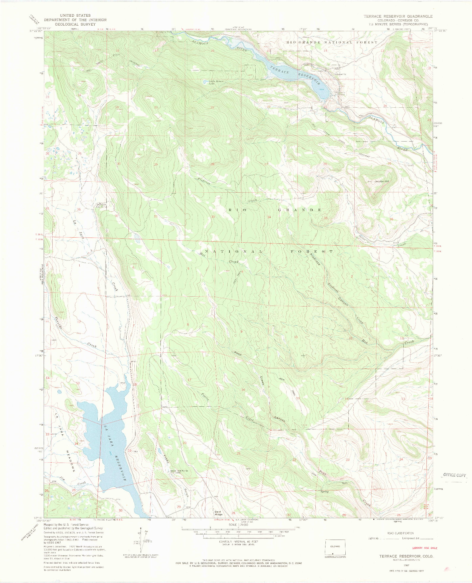 USGS 1:24000-SCALE QUADRANGLE FOR TERRACE RESERVOIR, CO 1967