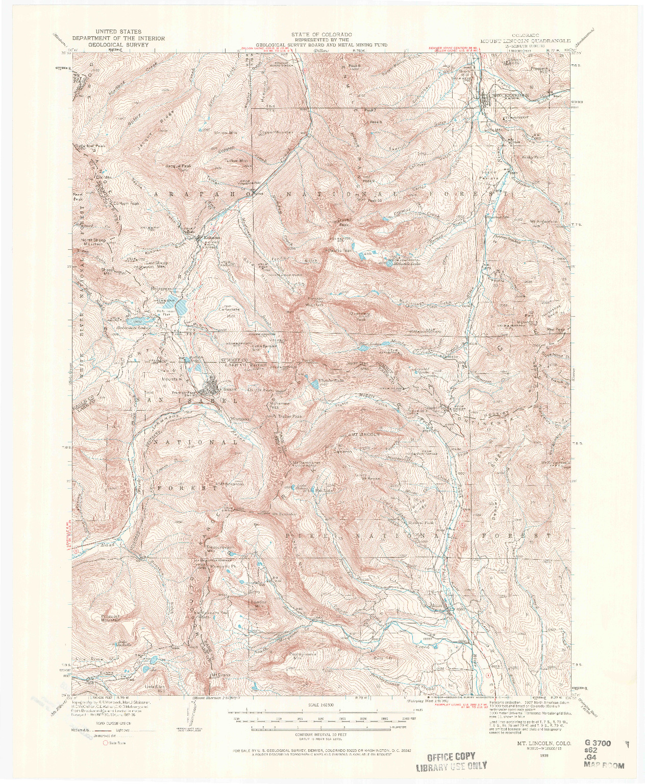 USGS 1:62500-SCALE QUADRANGLE FOR MOUNT LINCOLN, CO 1938