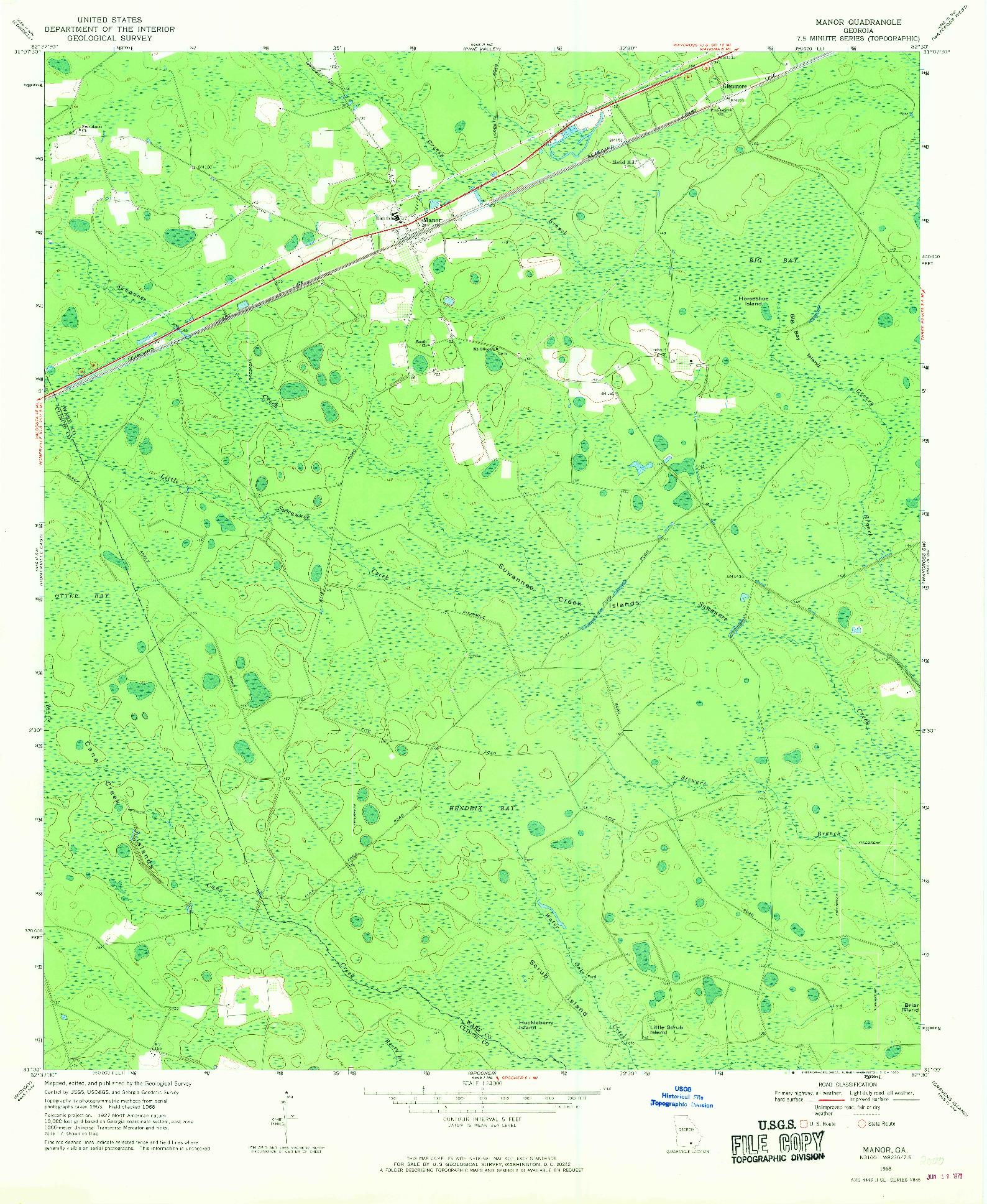 USGS 1:24000-SCALE QUADRANGLE FOR MANOR, GA 1968