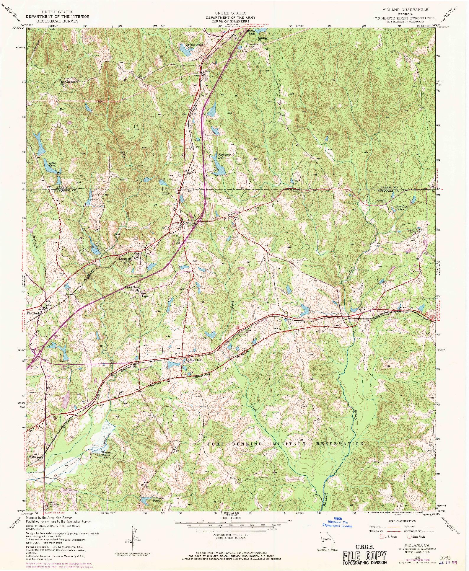 USGS 1:24000-SCALE QUADRANGLE FOR MIDLAND, GA 1955
