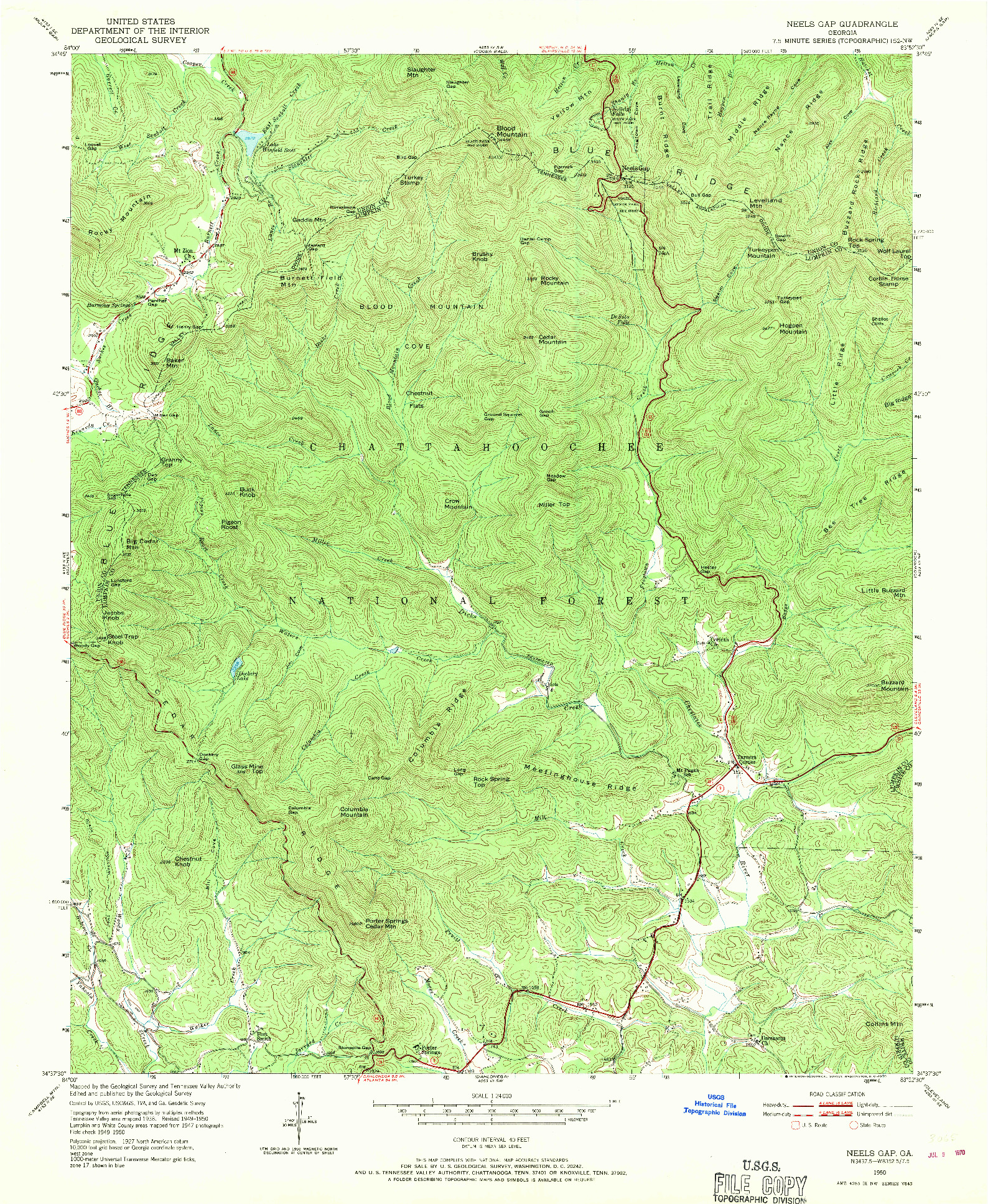 USGS 1:24000-SCALE QUADRANGLE FOR NEELS GAP, GA 1950