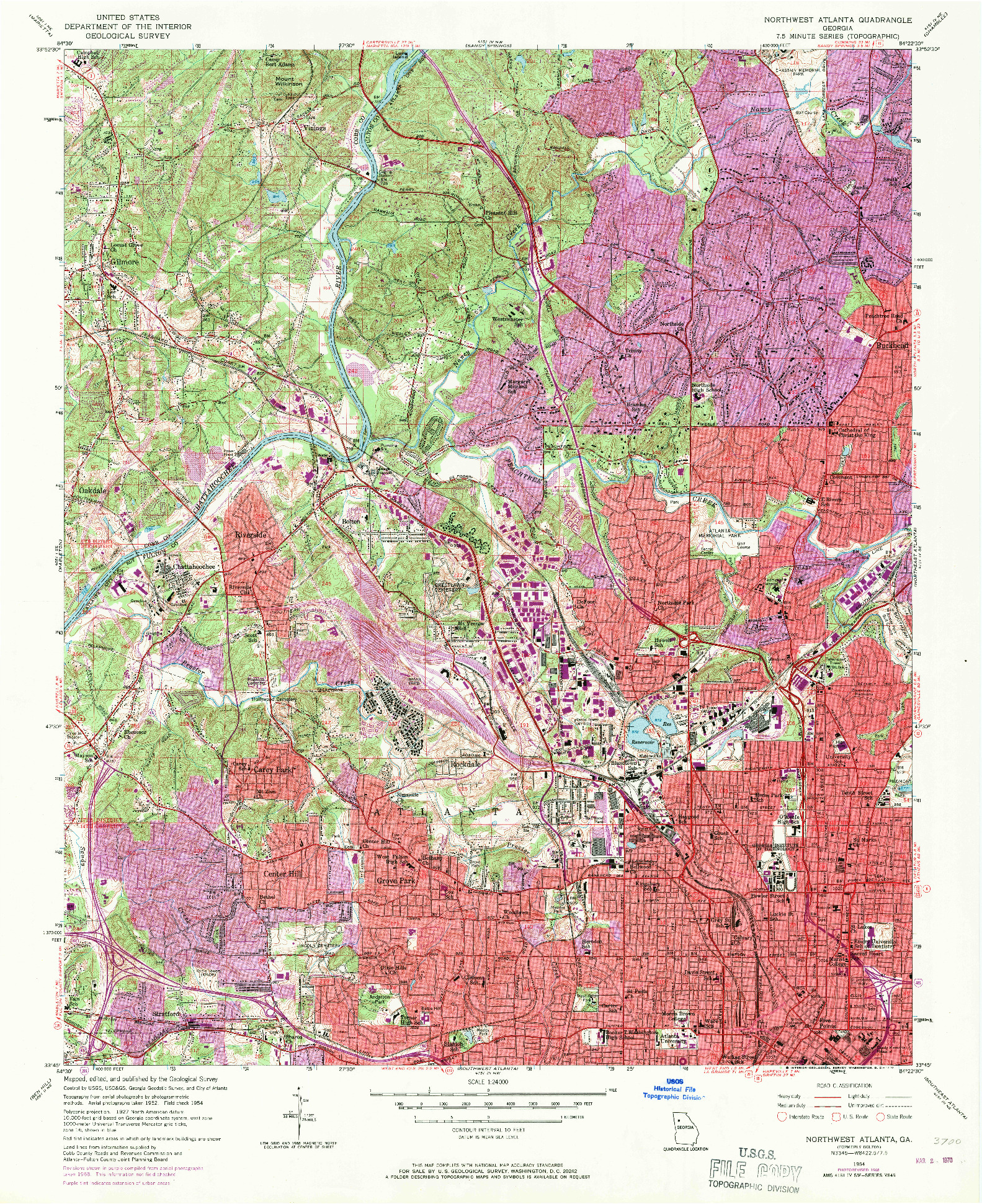 USGS 1:24000-SCALE QUADRANGLE FOR NORTHWEST ATLANTA, GA 1954