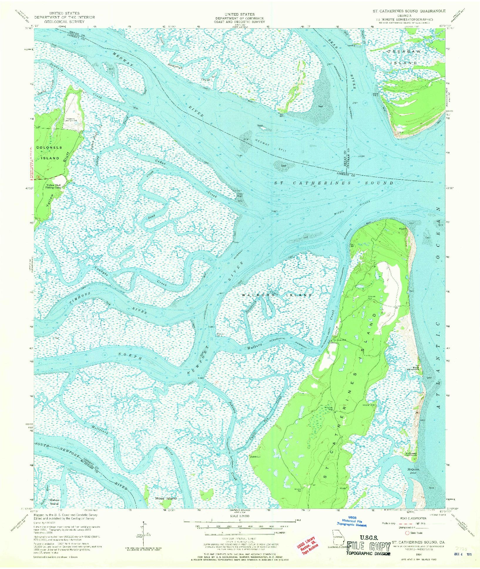 USGS 1:24000-SCALE QUADRANGLE FOR ST CATHERINES SOUND, GA 1954