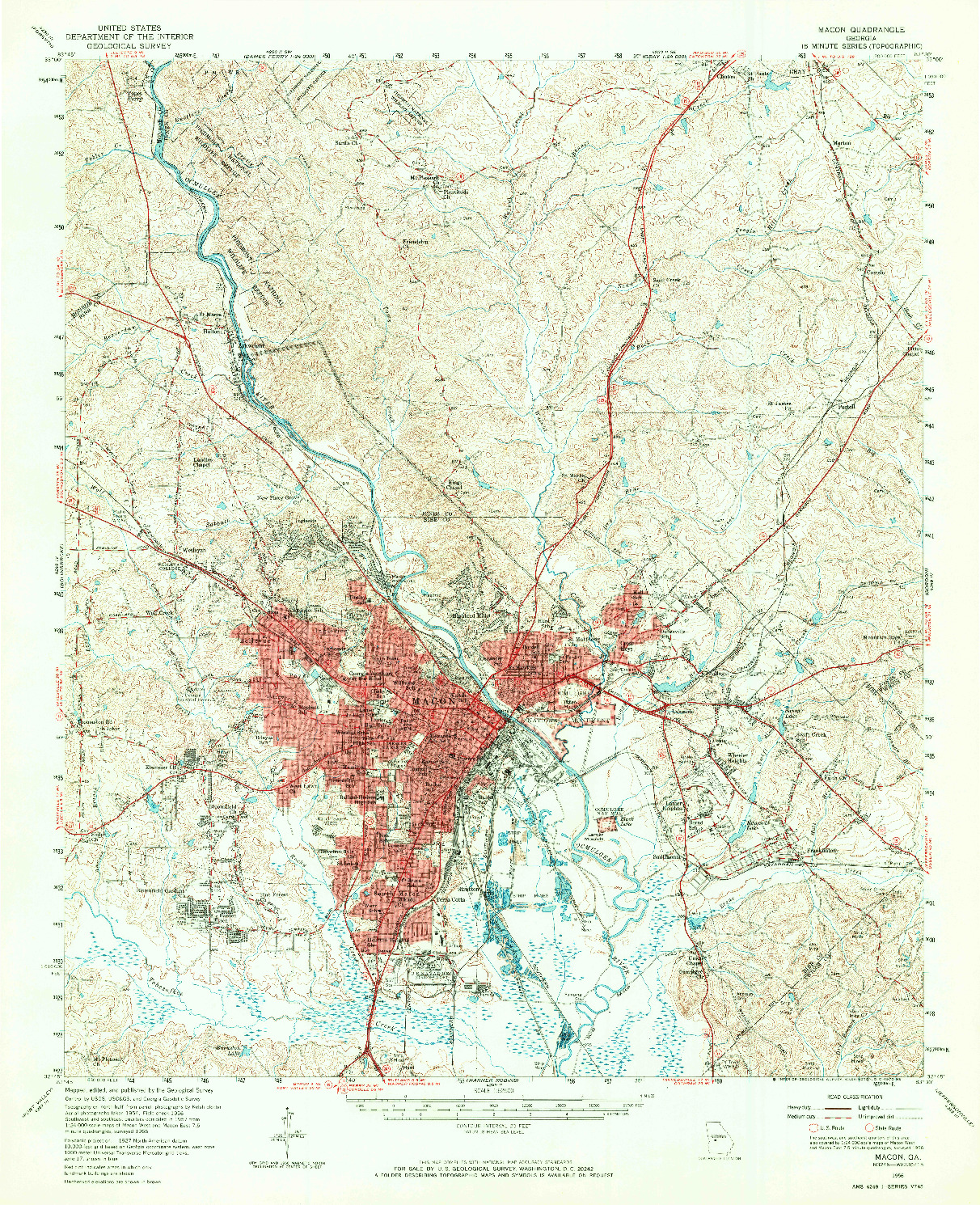 USGS 1:62500-SCALE QUADRANGLE FOR MACON, GA 1956