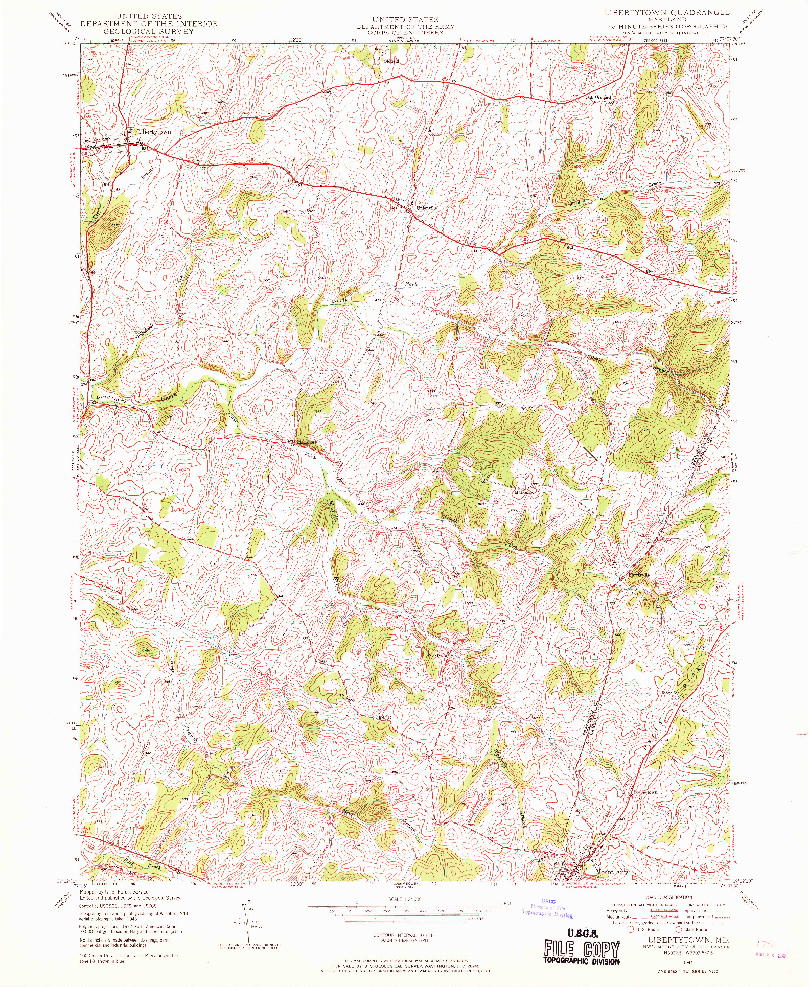 USGS 1:24000-SCALE QUADRANGLE FOR LIBERTYTOWN, MD 1944